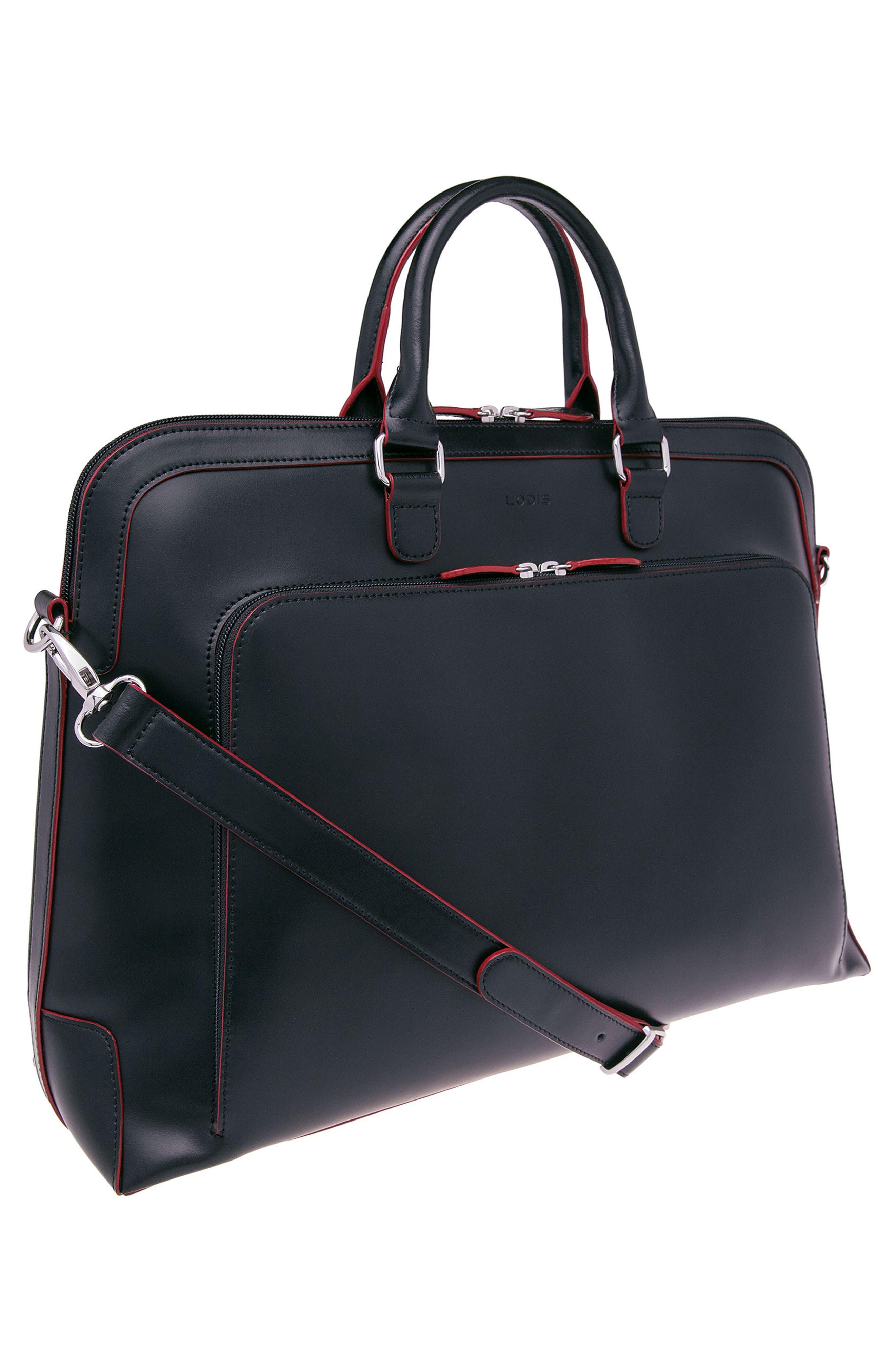 Lodis 'Audrey Brera' Leather Briefcase,                             Alternate thumbnail 4, color,                             001
