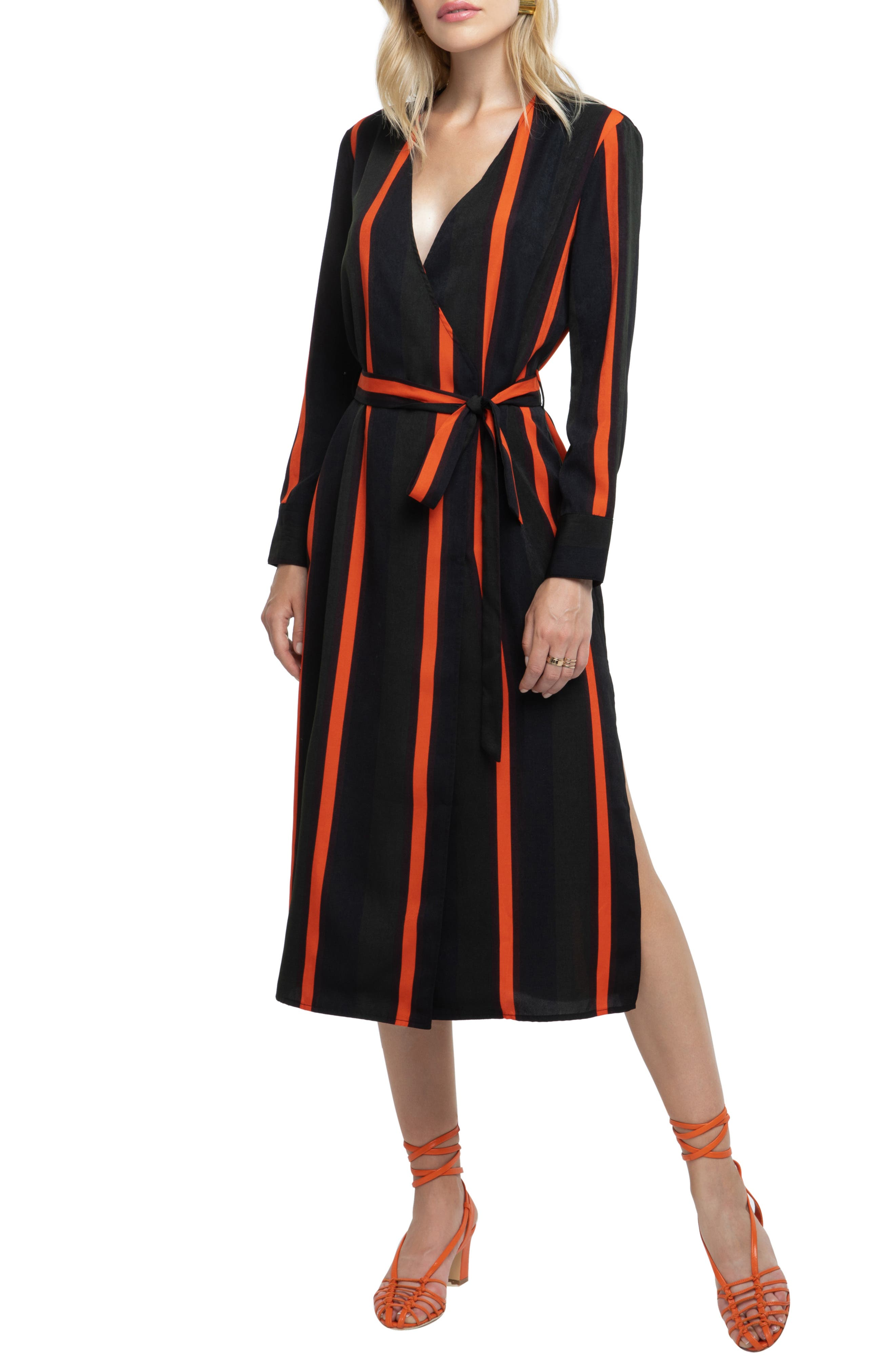 Astr The Label Stripe Wrap Dress, Green