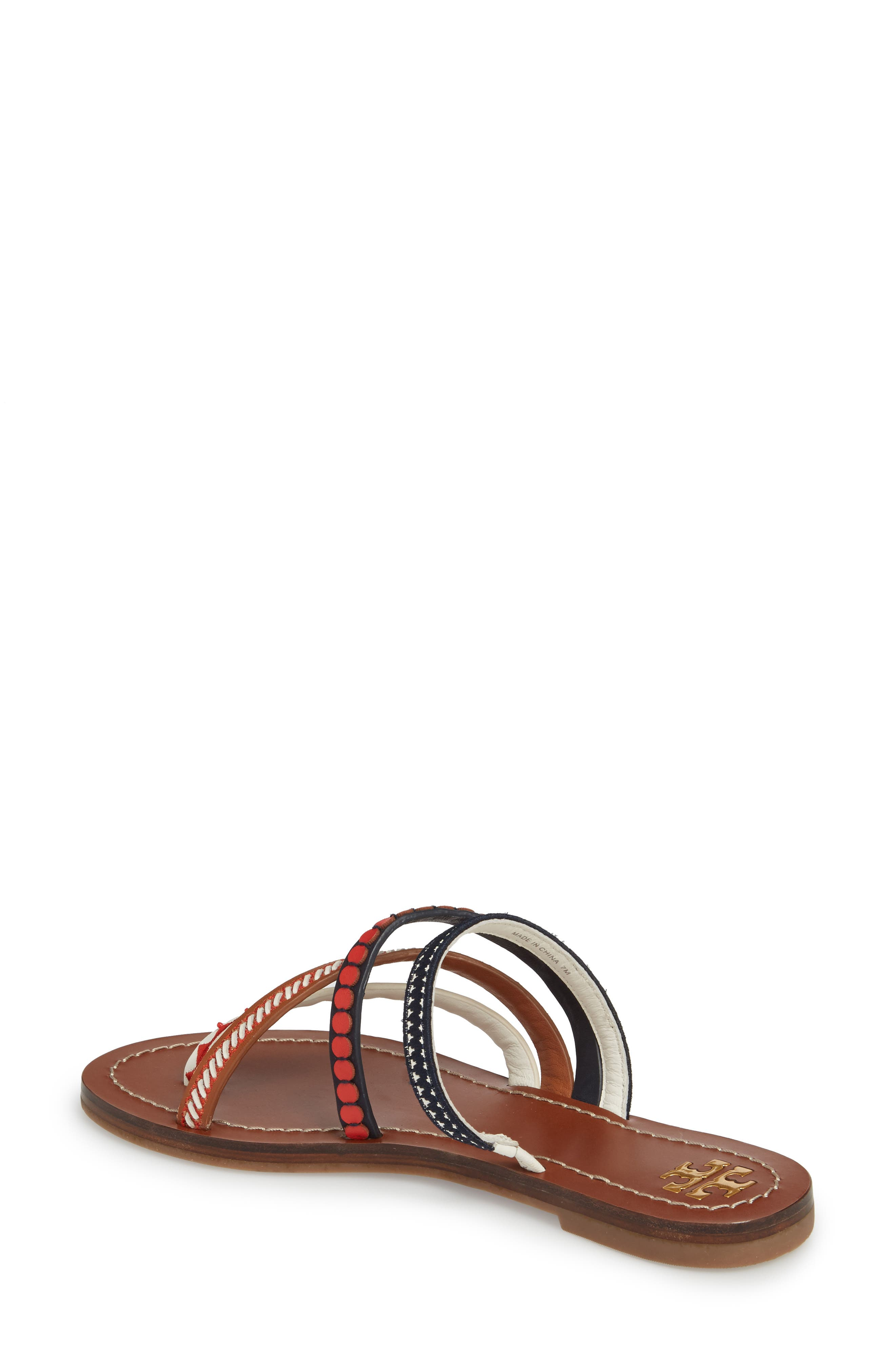 Patos Embroidered Thong Sandal,                             Alternate thumbnail 2, color,                             PERFECT CUOIO/ MULTI MUTLI