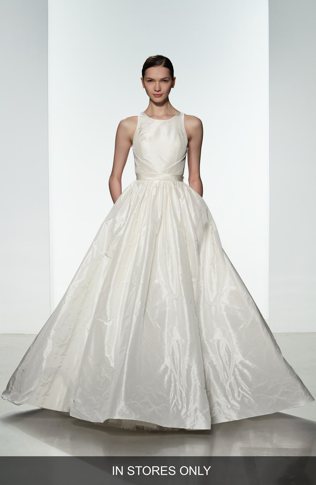 Troy Open Back Silk Taffeta Ballgown,                         Main,                         color, IVORY