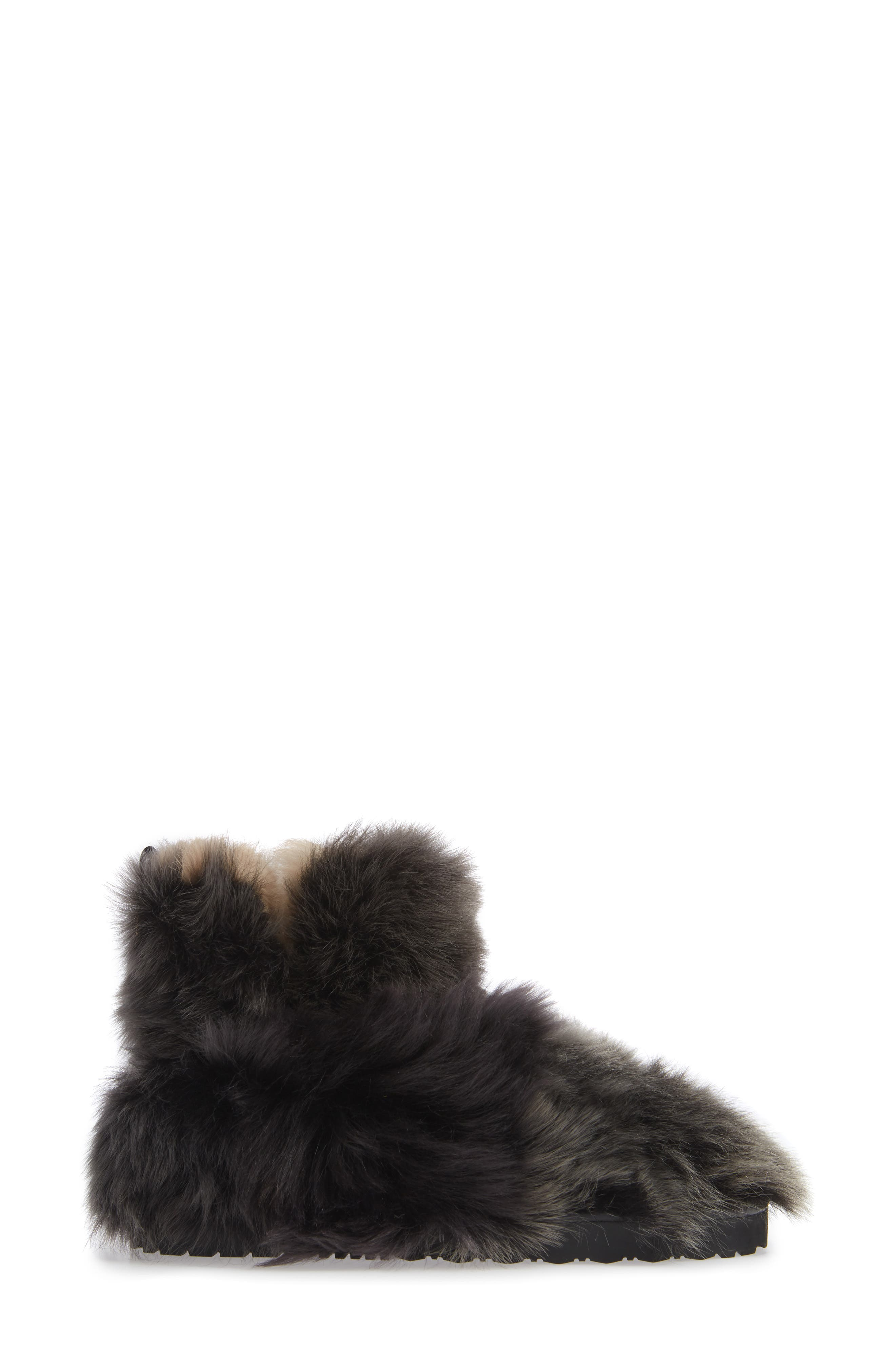 Janica Genuine Shearling Bootie,                             Alternate thumbnail 3, color,                             PITCH BLACK AGNELLO