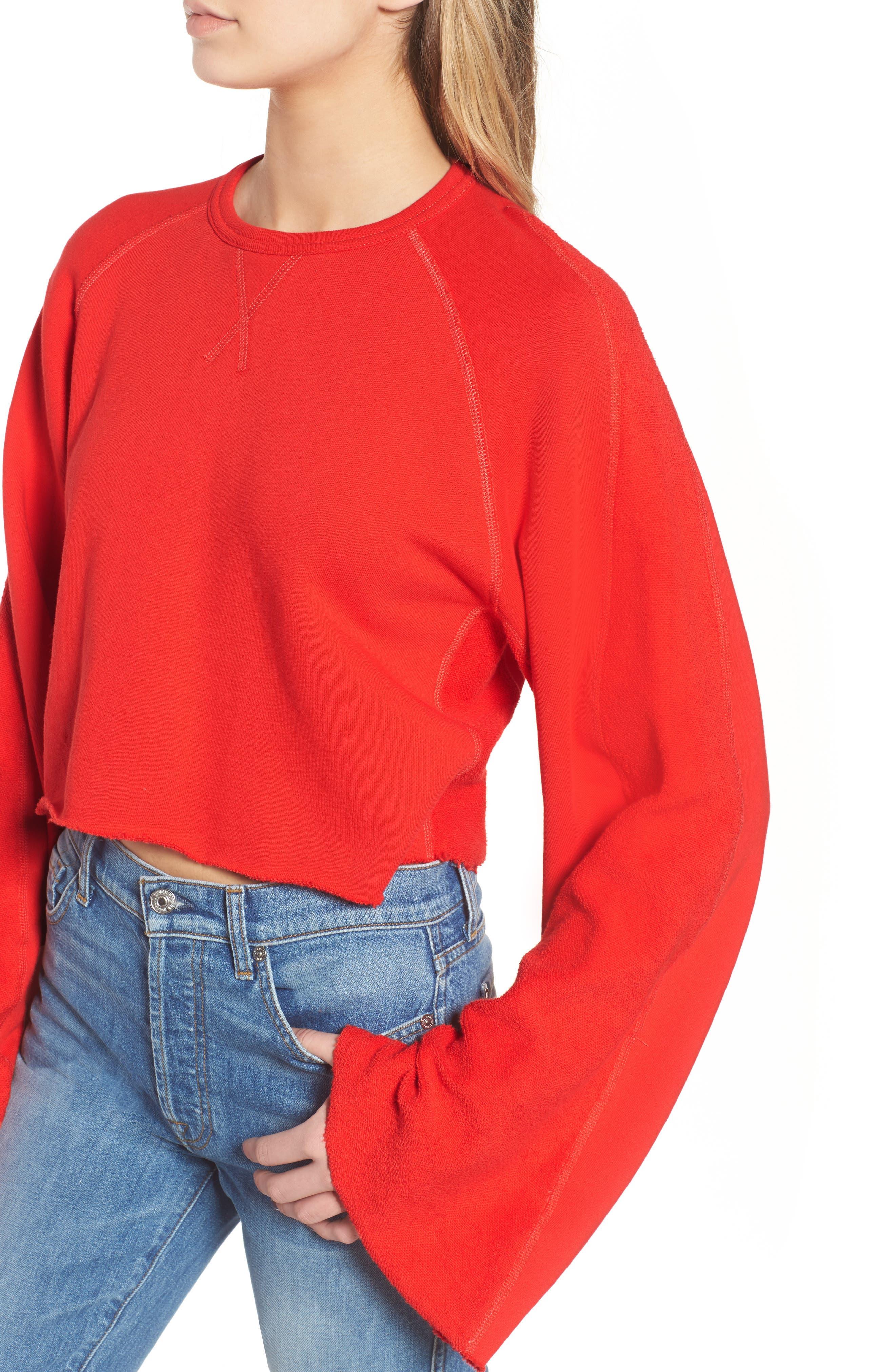 Flare Sleeve Crop Sweatshirt,                             Alternate thumbnail 4, color,