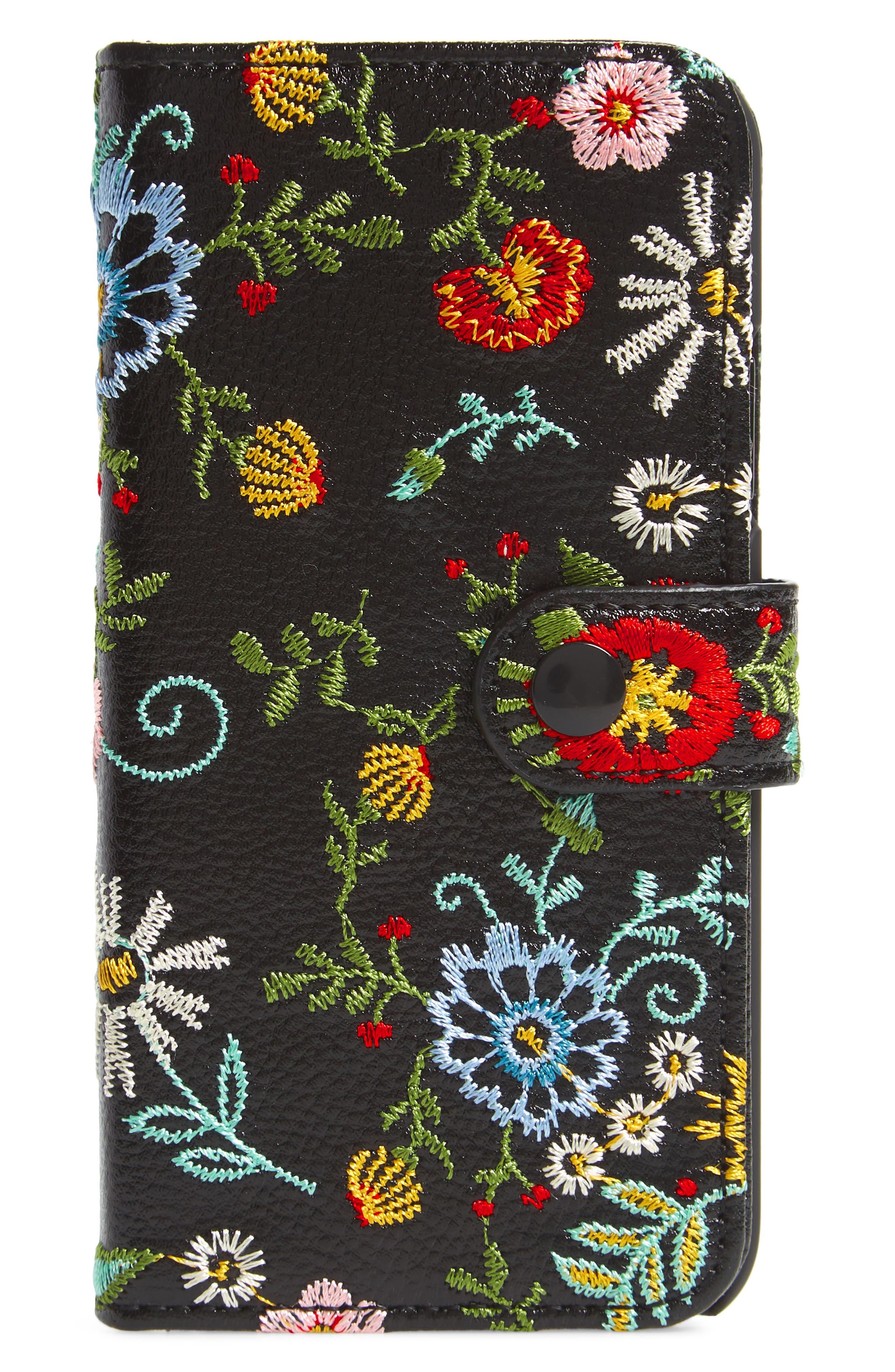 Jardin iPhone X Wallet,                             Main thumbnail 1, color,                             BLACK MULTI