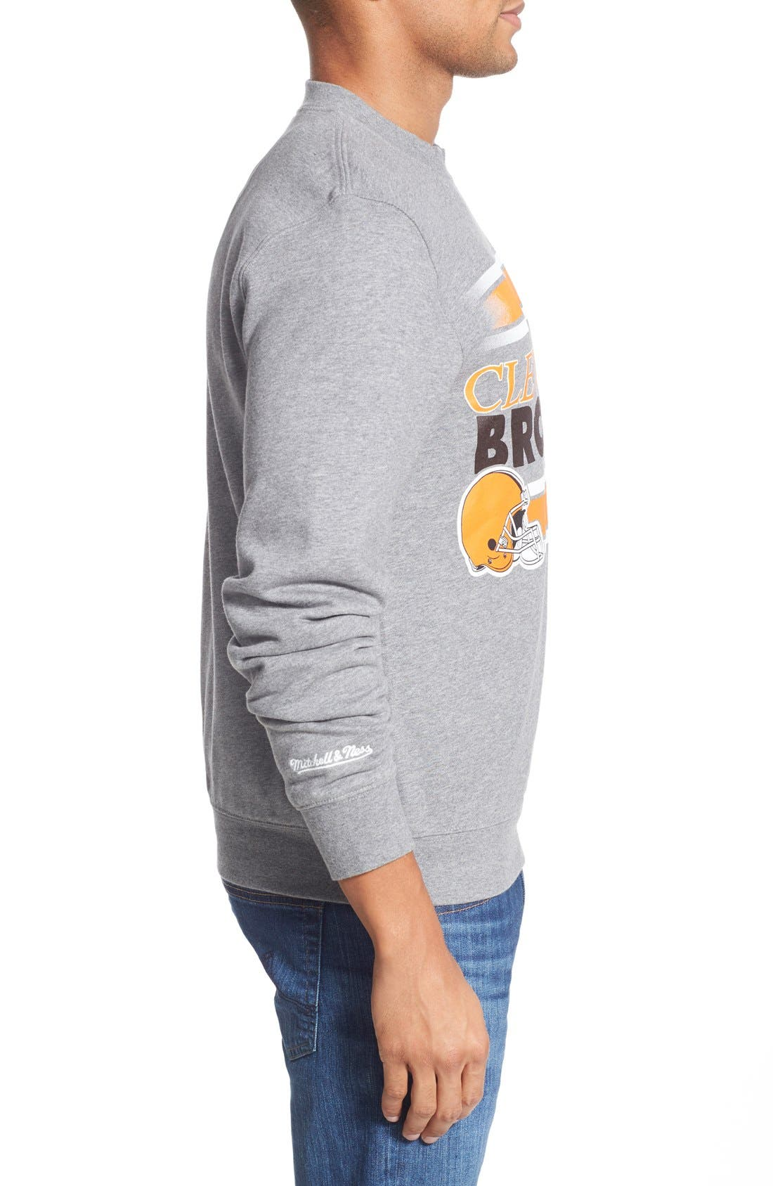 MITCHELL & NESS,                             Mitchell &Ness'Cleveland Browns' Tailored Fleece Crewneck Sweatshirt,                             Alternate thumbnail 3, color,                             061