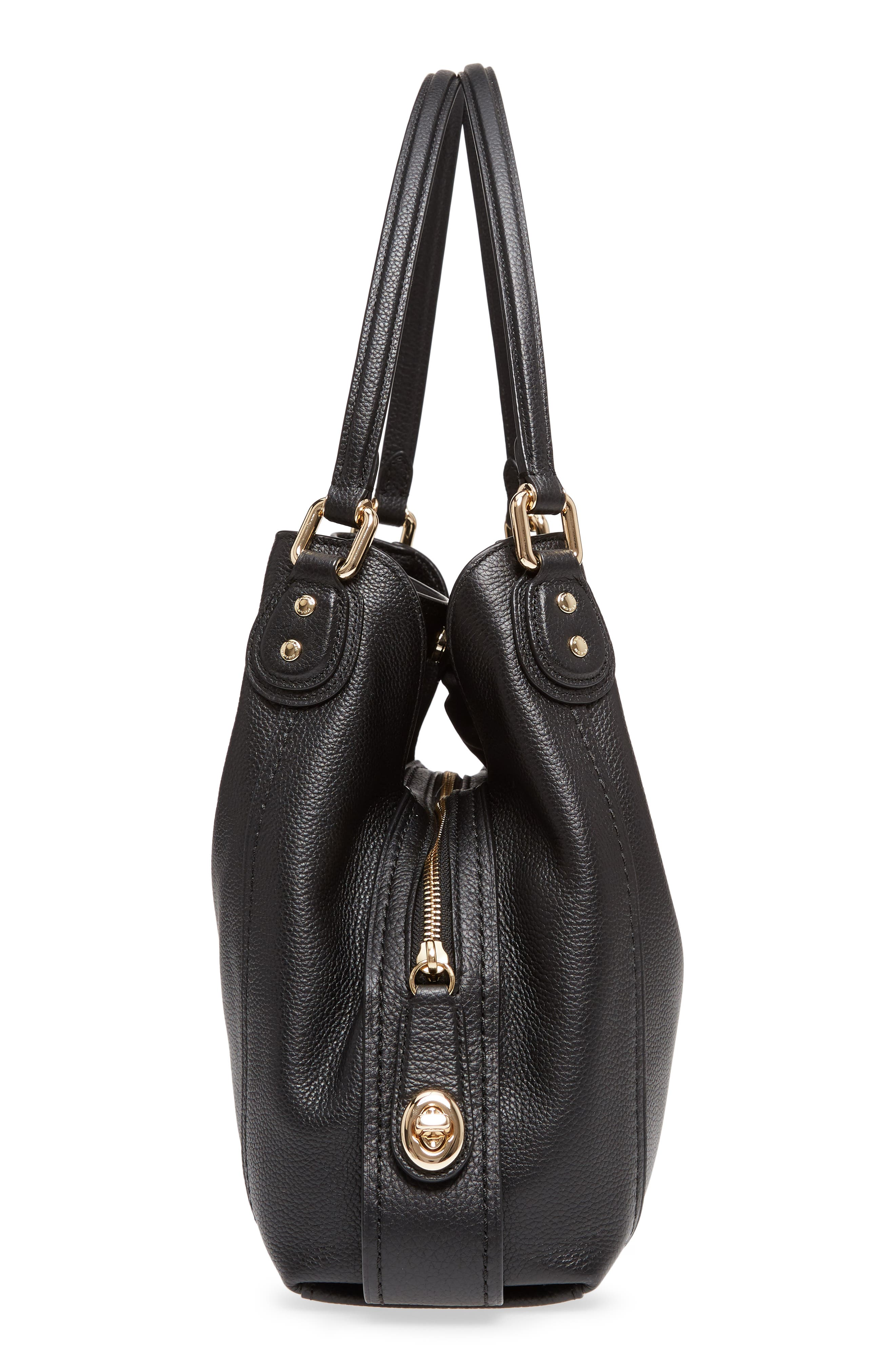 Edie 31 Pebbled Leather Shoulder Bag,                             Alternate thumbnail 5, color,                             BLACK