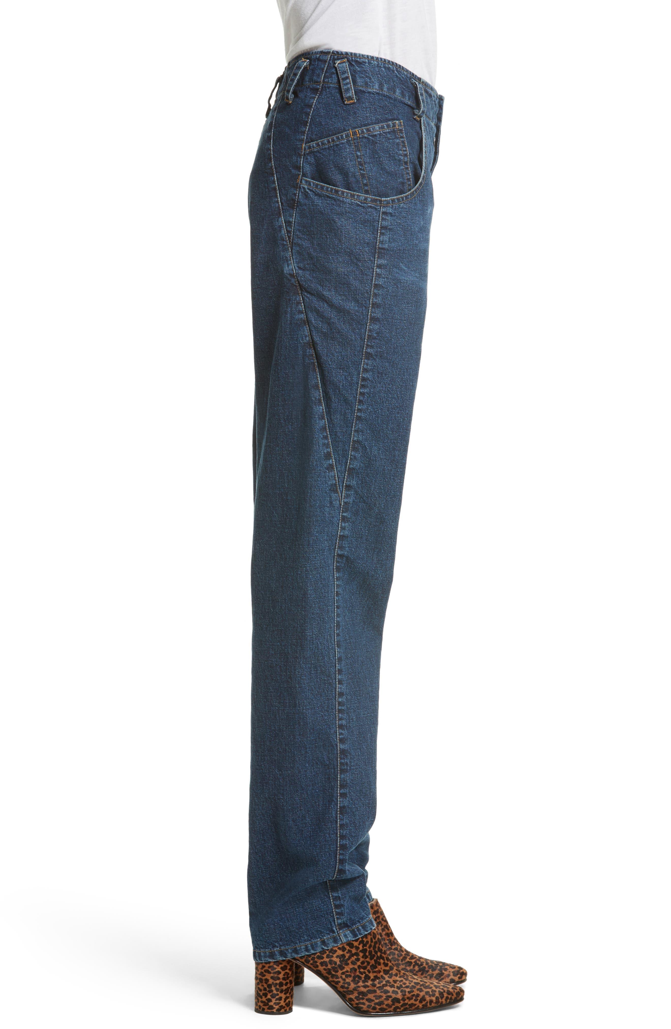 Long Trigger Straight Leg Jeans,                             Alternate thumbnail 3, color,                             420