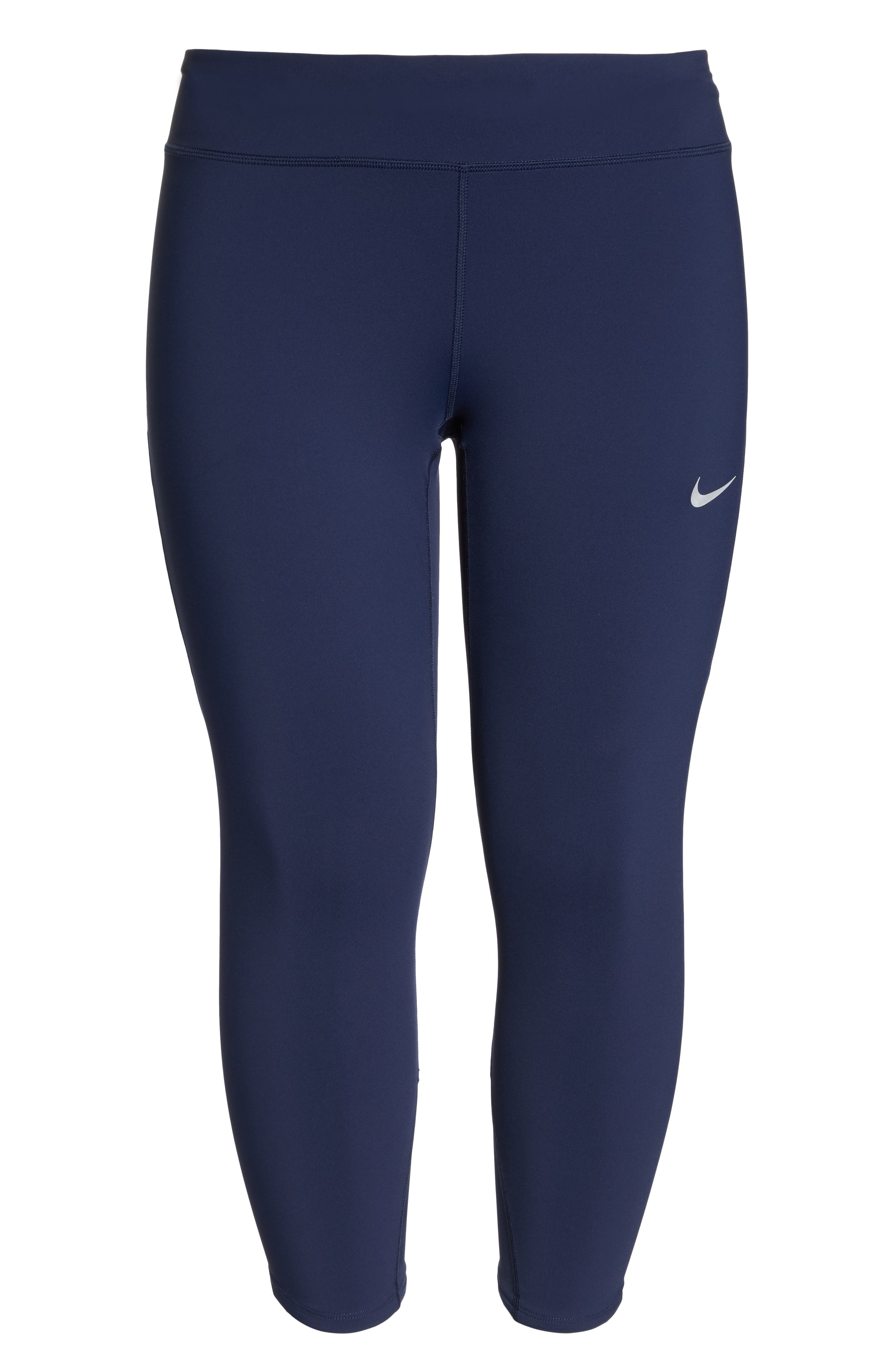 Power Epic Lux Crop Running Tights,                             Alternate thumbnail 7, color,                             OBSIDIAN