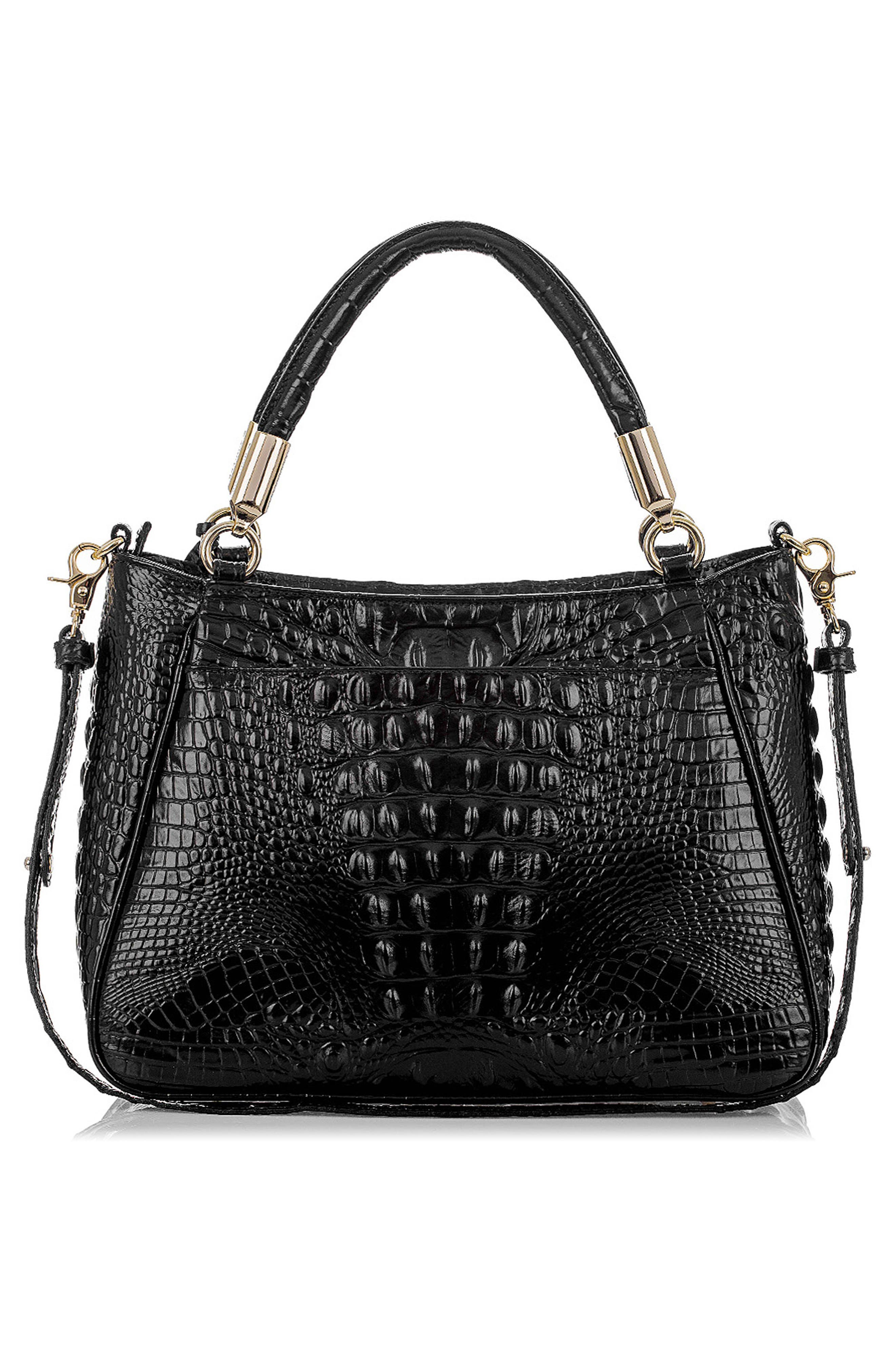 Ruby Croc Embossed Leather Satchel,                             Alternate thumbnail 2, color,                             001