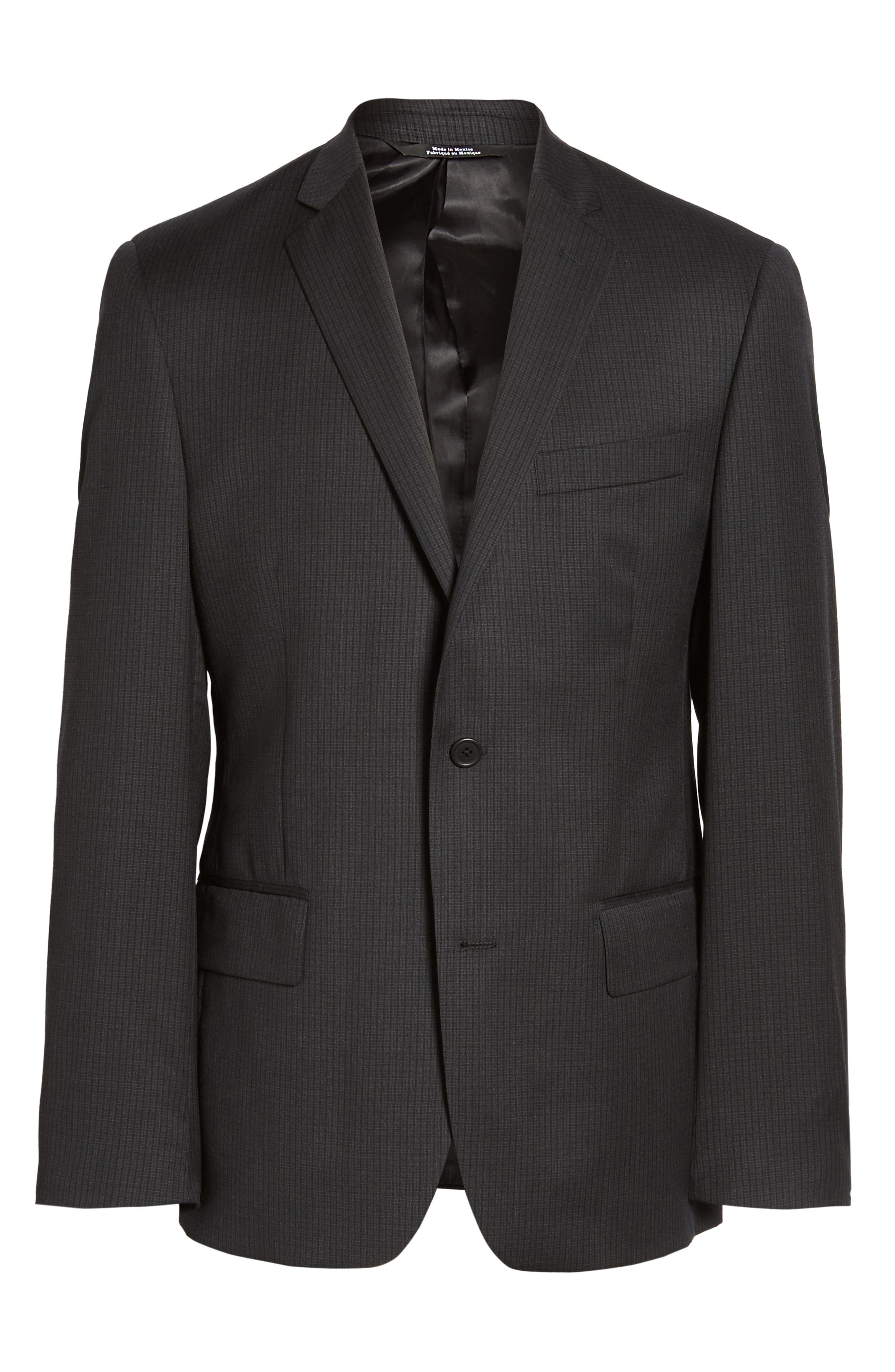 Classic Fit Check Wool Suit,                             Alternate thumbnail 8, color,                             001