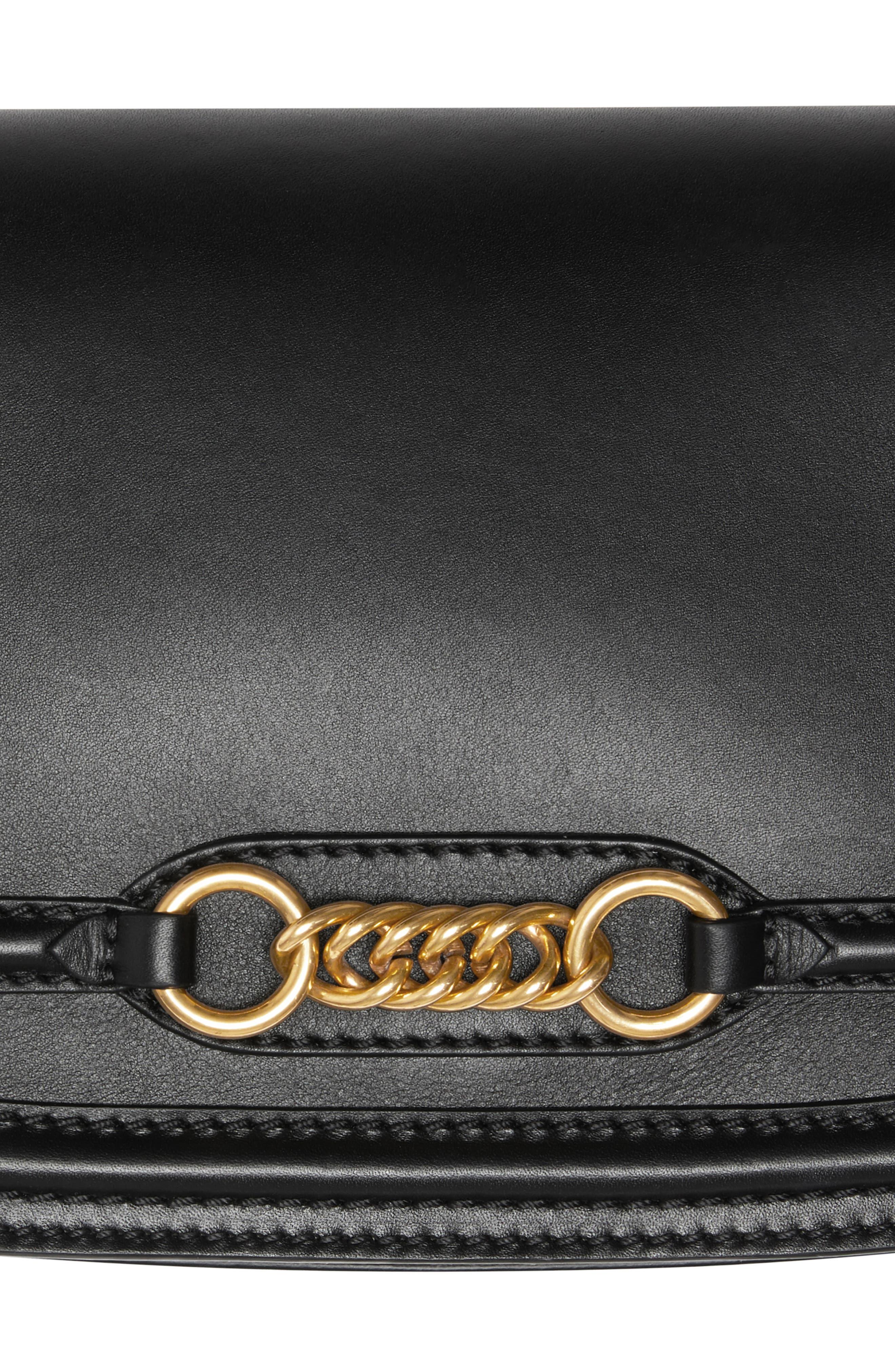 Link Flap Leather Crossbody Bag,                             Alternate thumbnail 6, color,                             BLACK