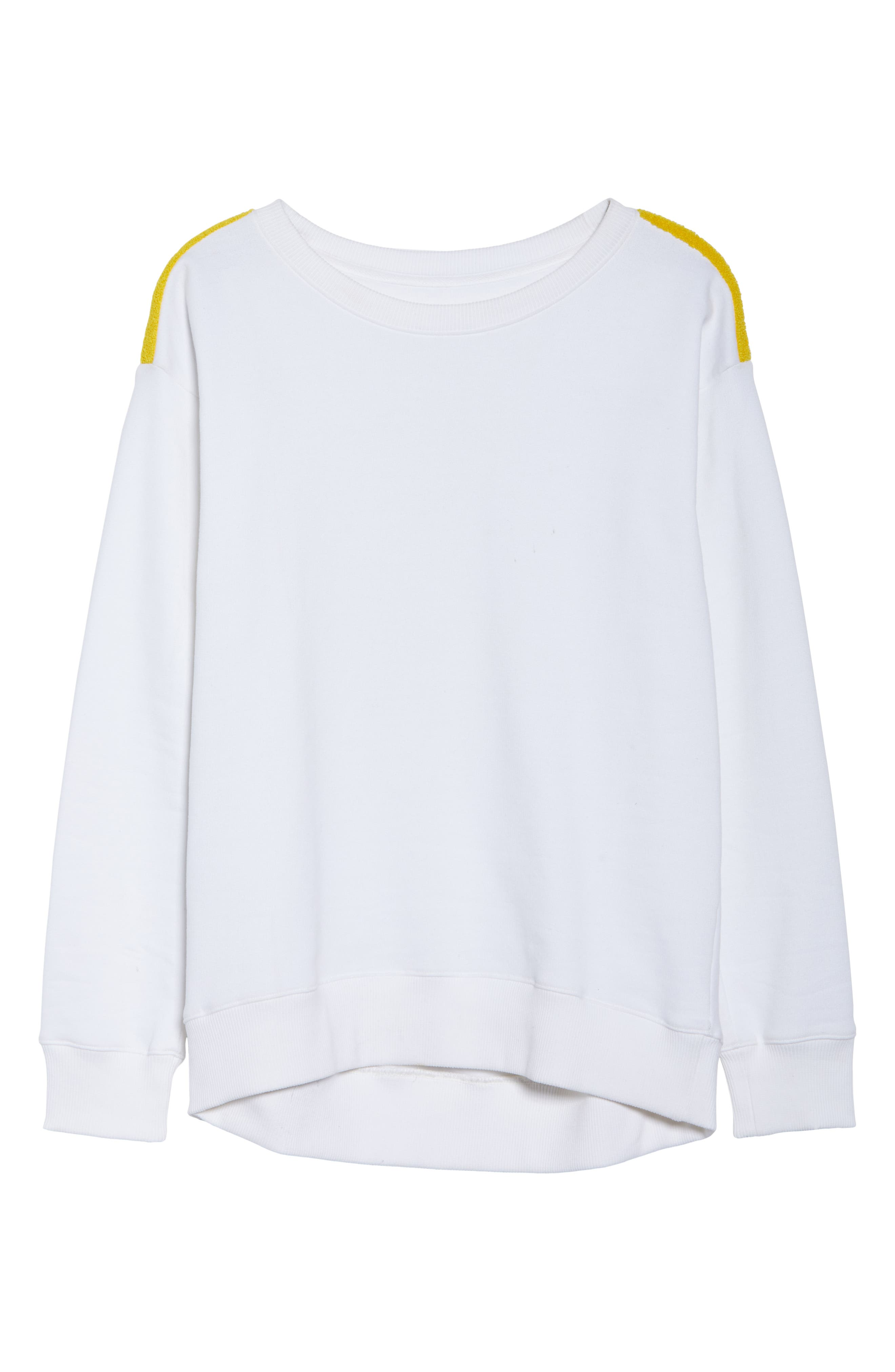 BoomBoom Athletica Tricolor Shoulder Sweatshirt,                             Alternate thumbnail 7, color,                             WHITE/ GREY/ YELLOW