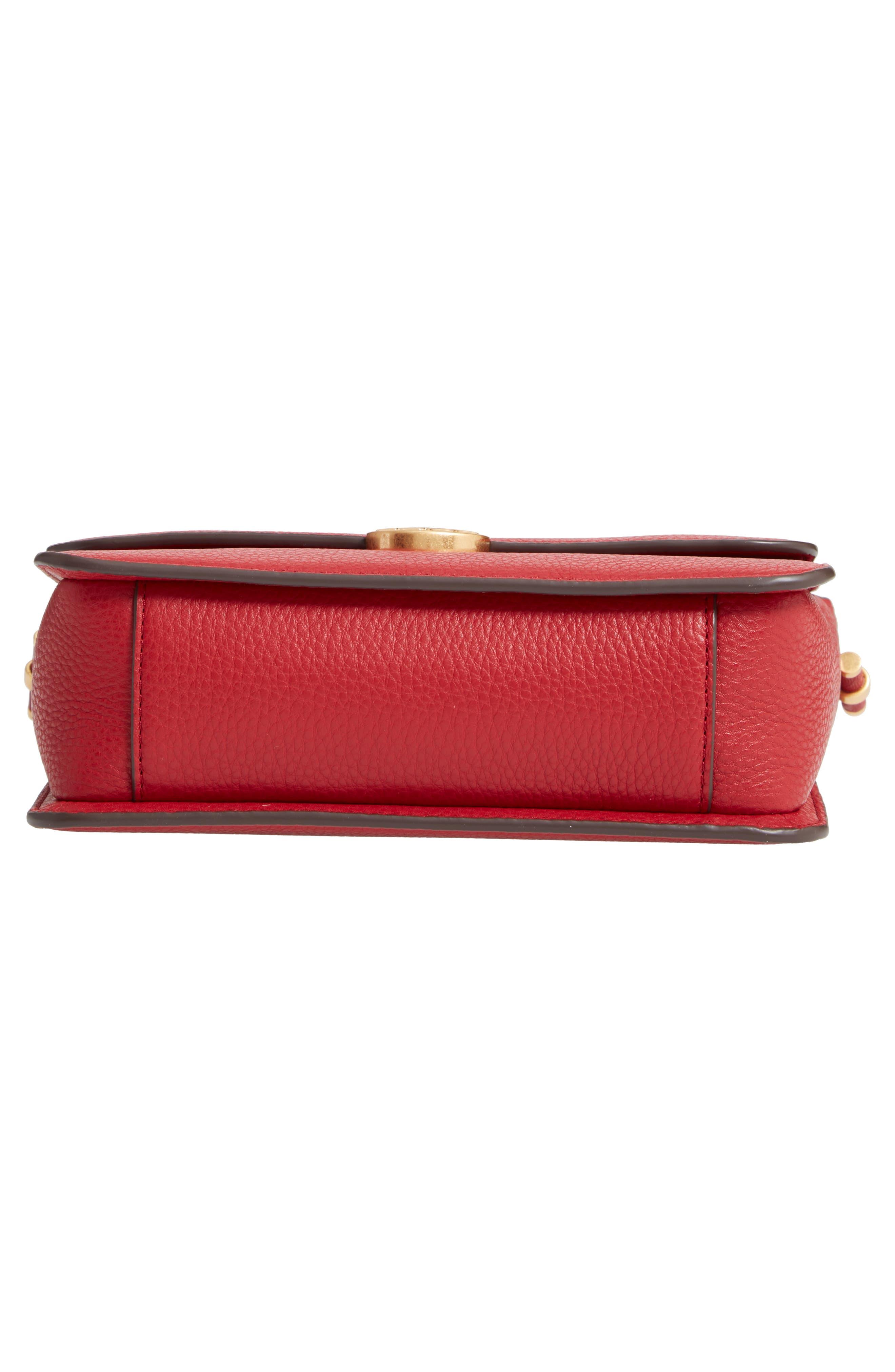 Chelsea Leather Crossbody Bag,                             Alternate thumbnail 6, color,                             REDSTONE