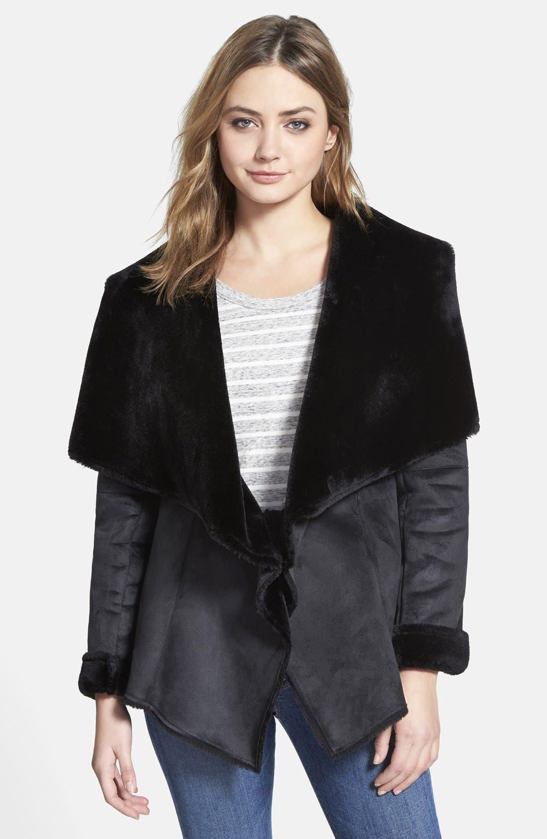 Velvet Faux Shearling Coat,                             Main thumbnail 1, color,                             001