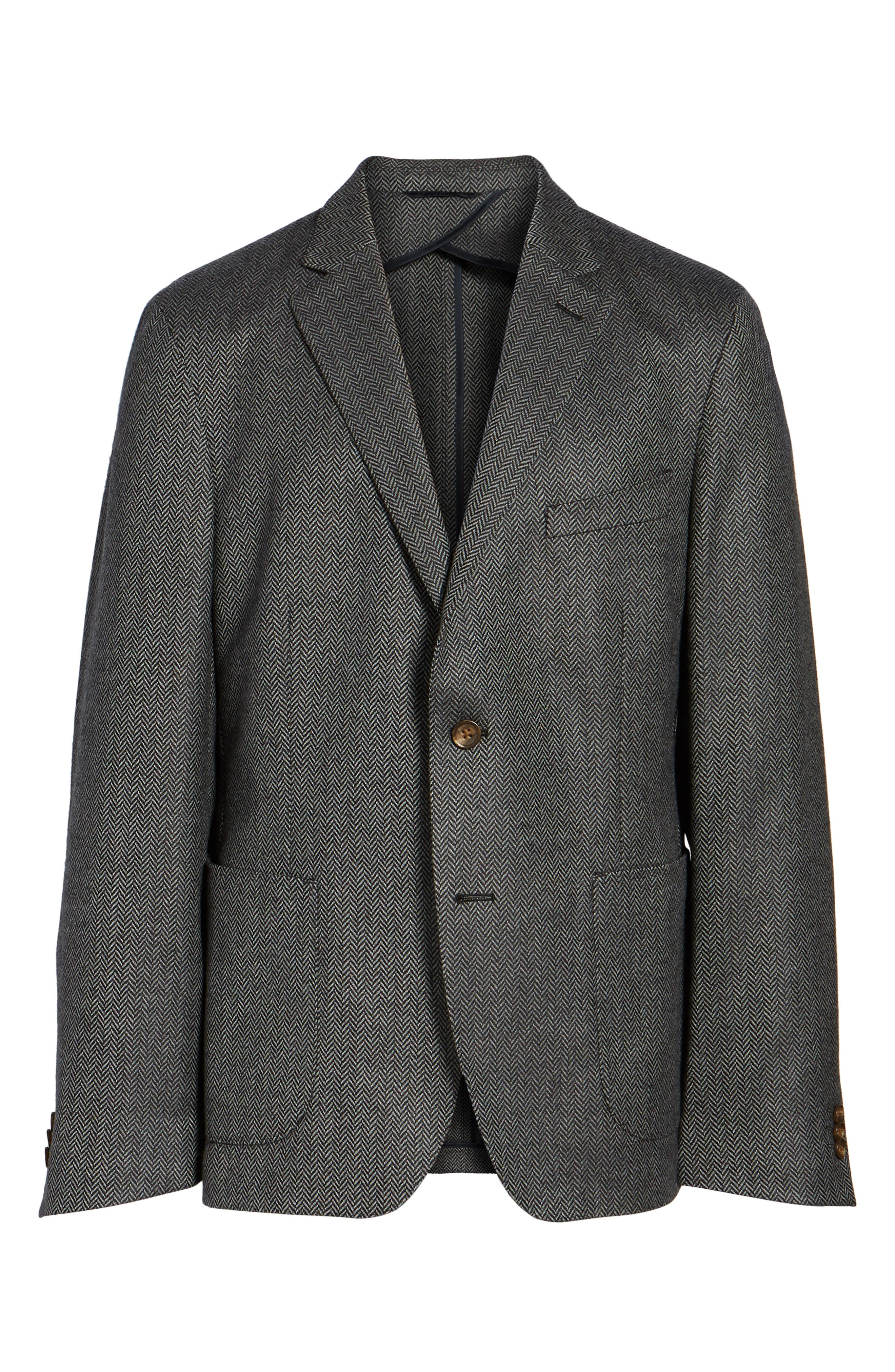 Classic Fit Herringbone Wool & Cashmere Jersey Sport Coat,                             Alternate thumbnail 5, color,