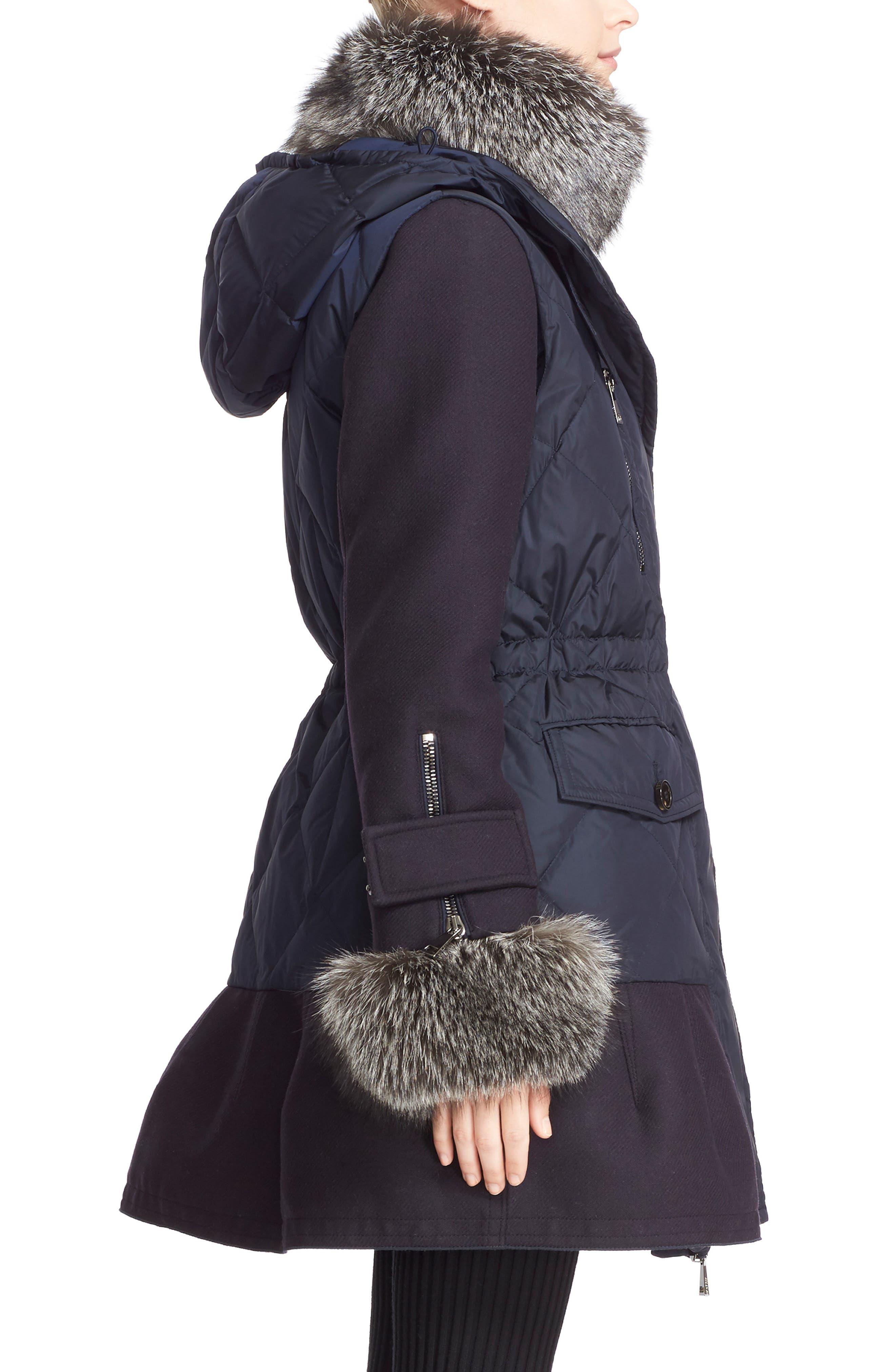 'Elestoria' Two-Piece Down Puffer Coat with Genuine Fox Fur Trim,                             Alternate thumbnail 3, color,                             419