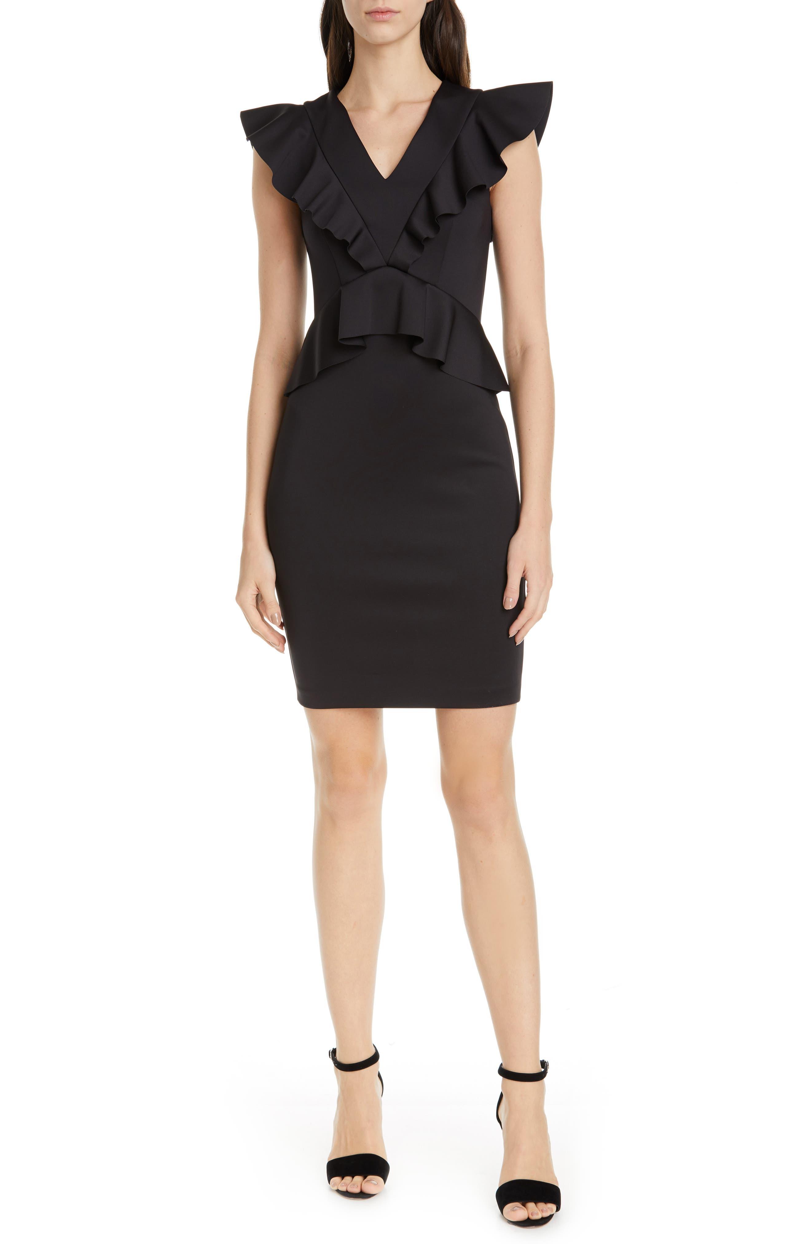 Ted Baker London Alair Ruffle Body-Con Dress, Black