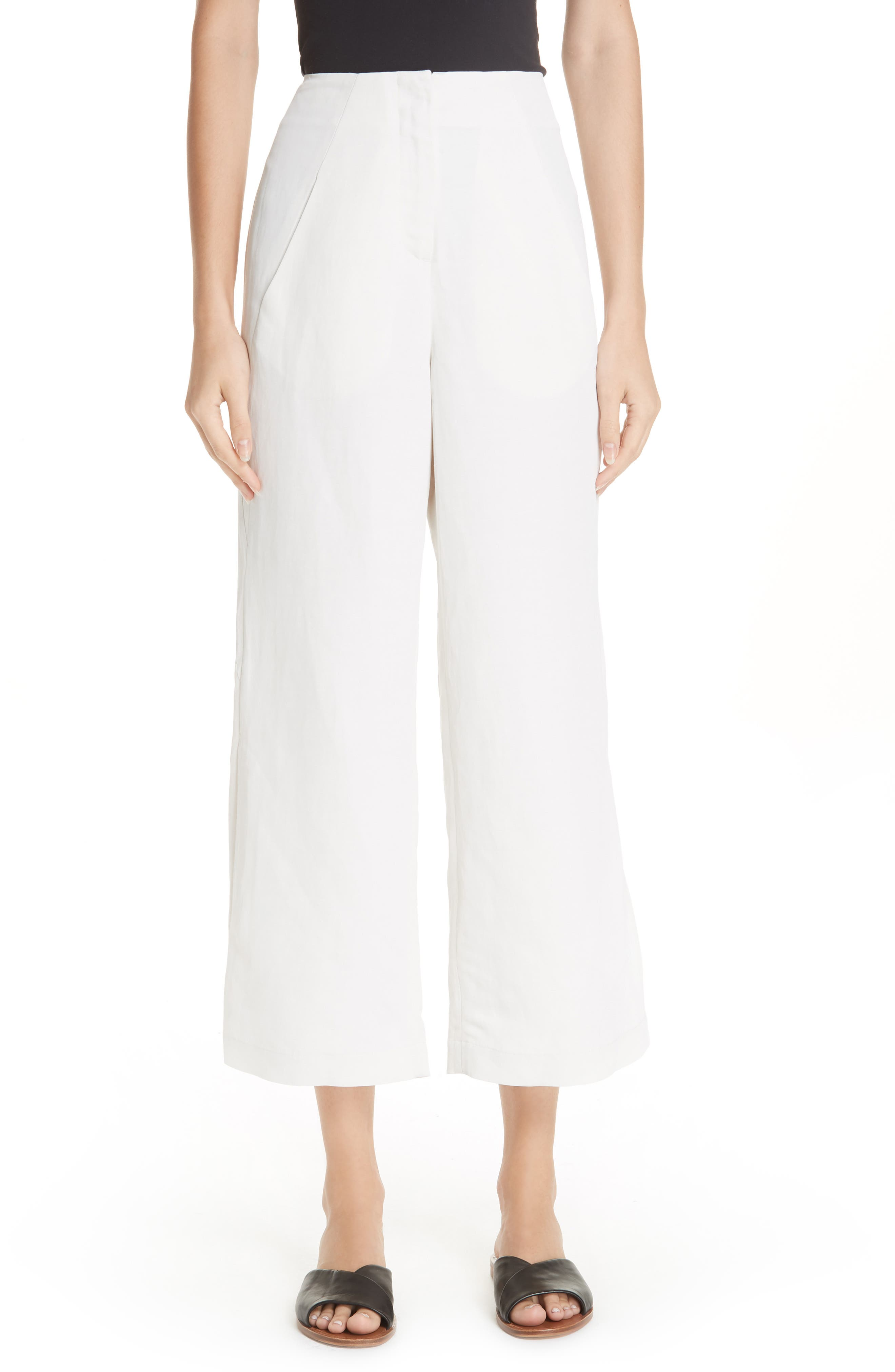 Tin Side Slit Crop Pants,                         Main,                         color, WHITE PEPPER