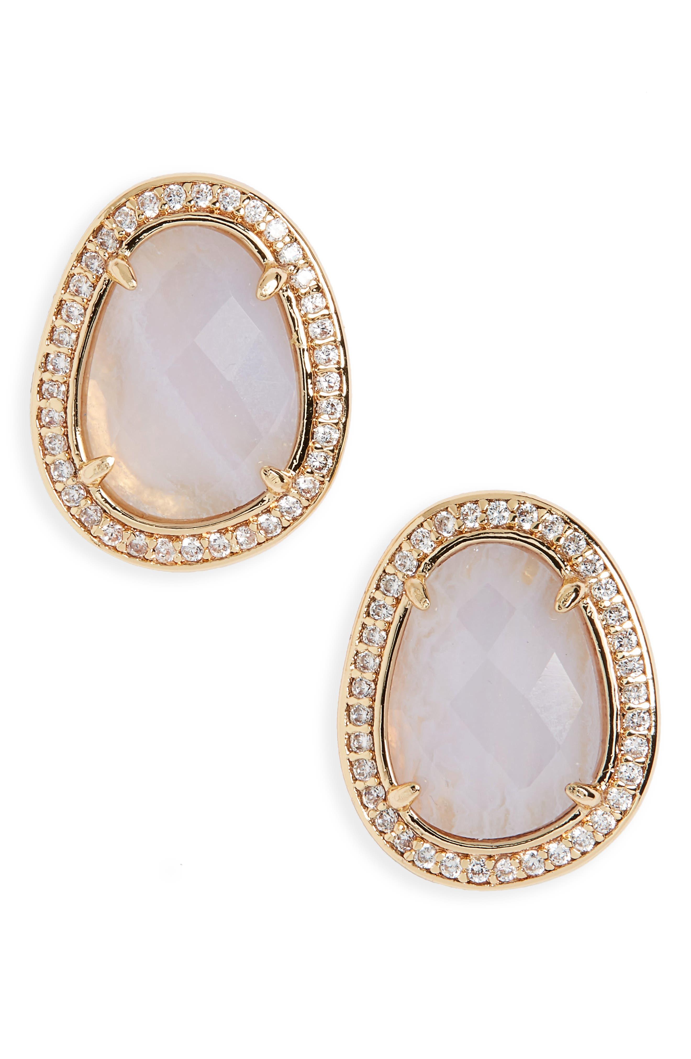 Semiprecious Stone Stud Earrings,                             Main thumbnail 2, color,