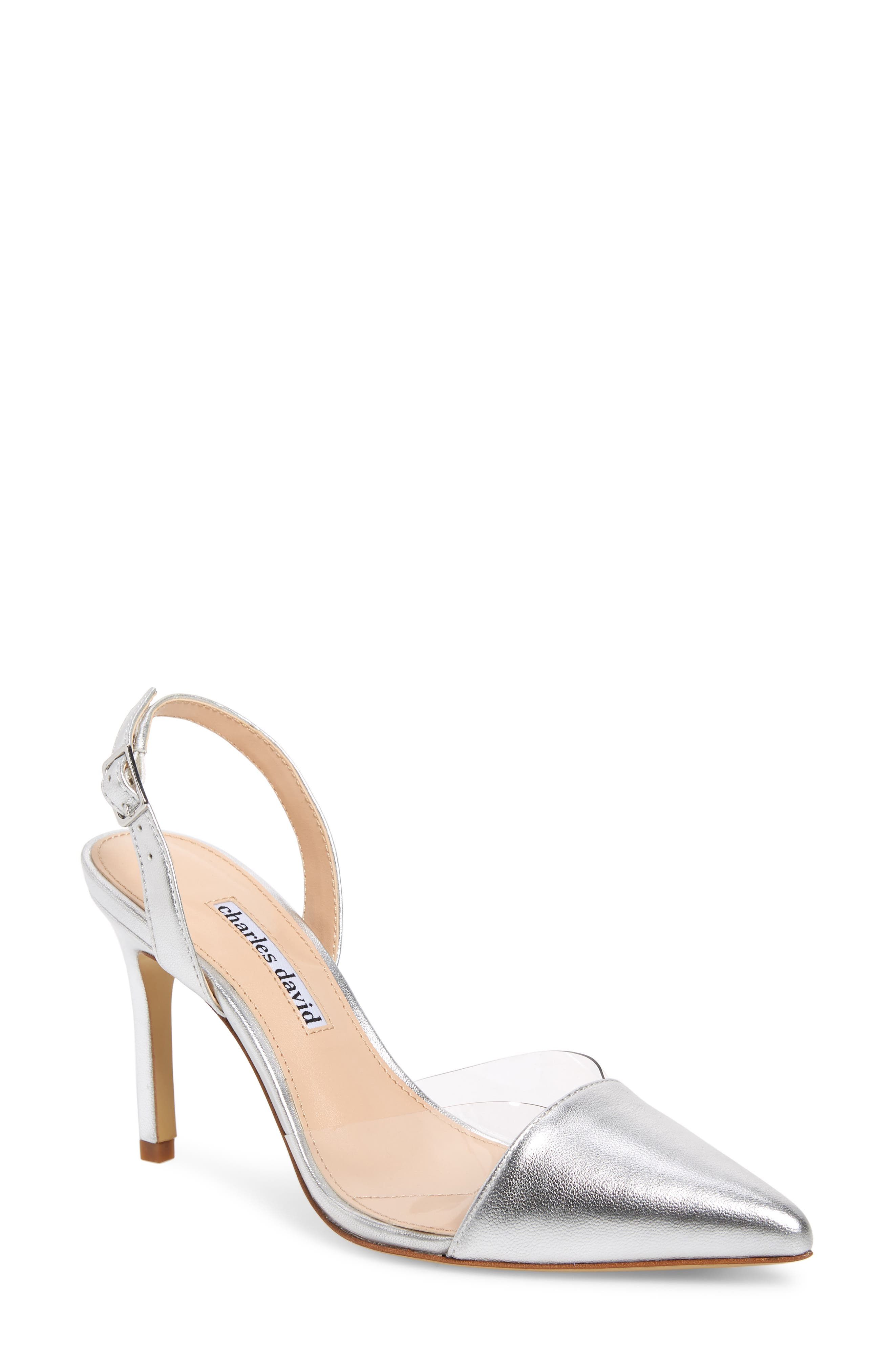 CHARLES DAVID Women'S Daryl Leather & See-Through Slingback Pumps in Silver/ Clear Leather