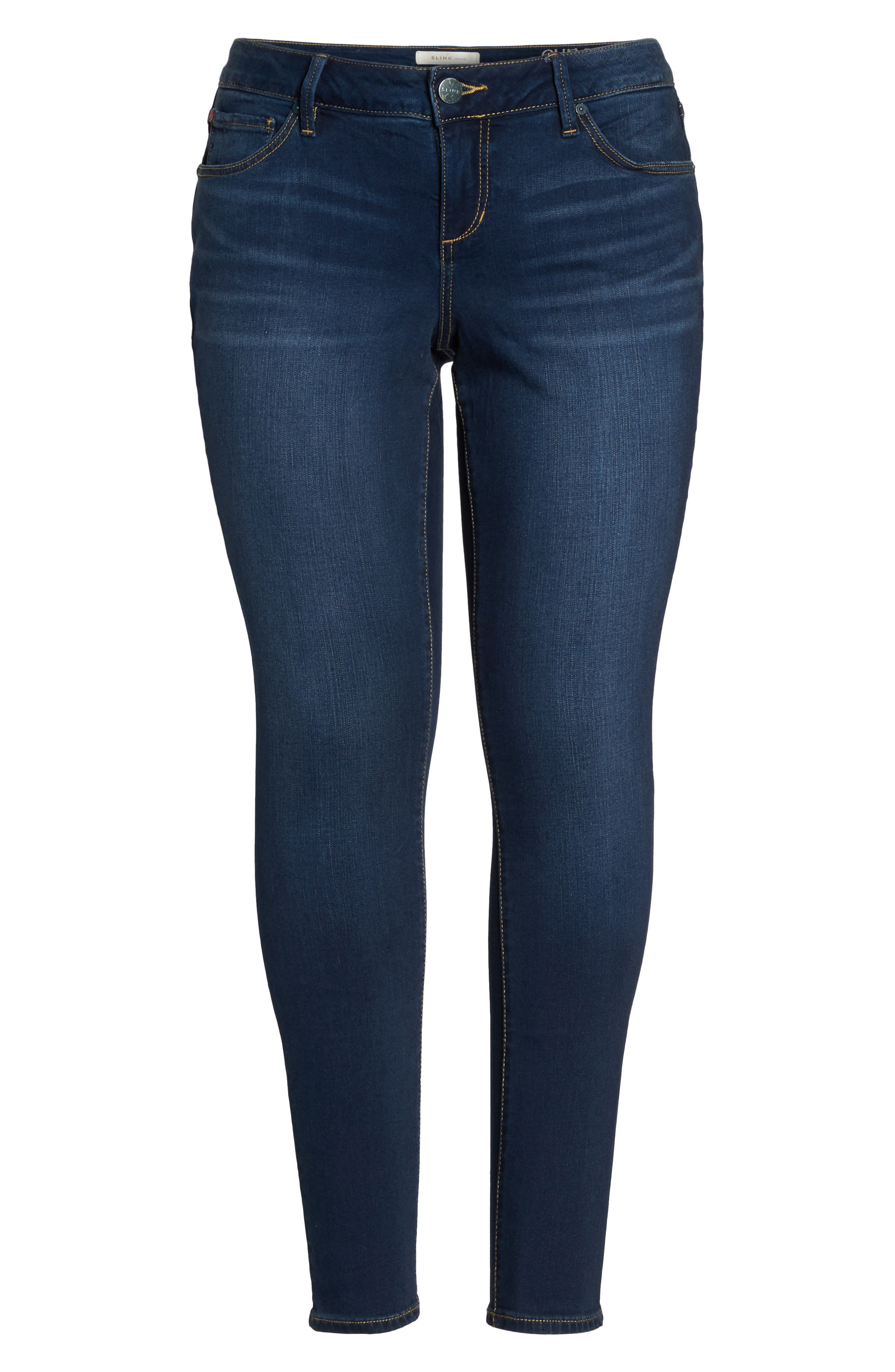 'The Skinny' Stretch Denim Jeans,                             Alternate thumbnail 4, color,                             AMBER