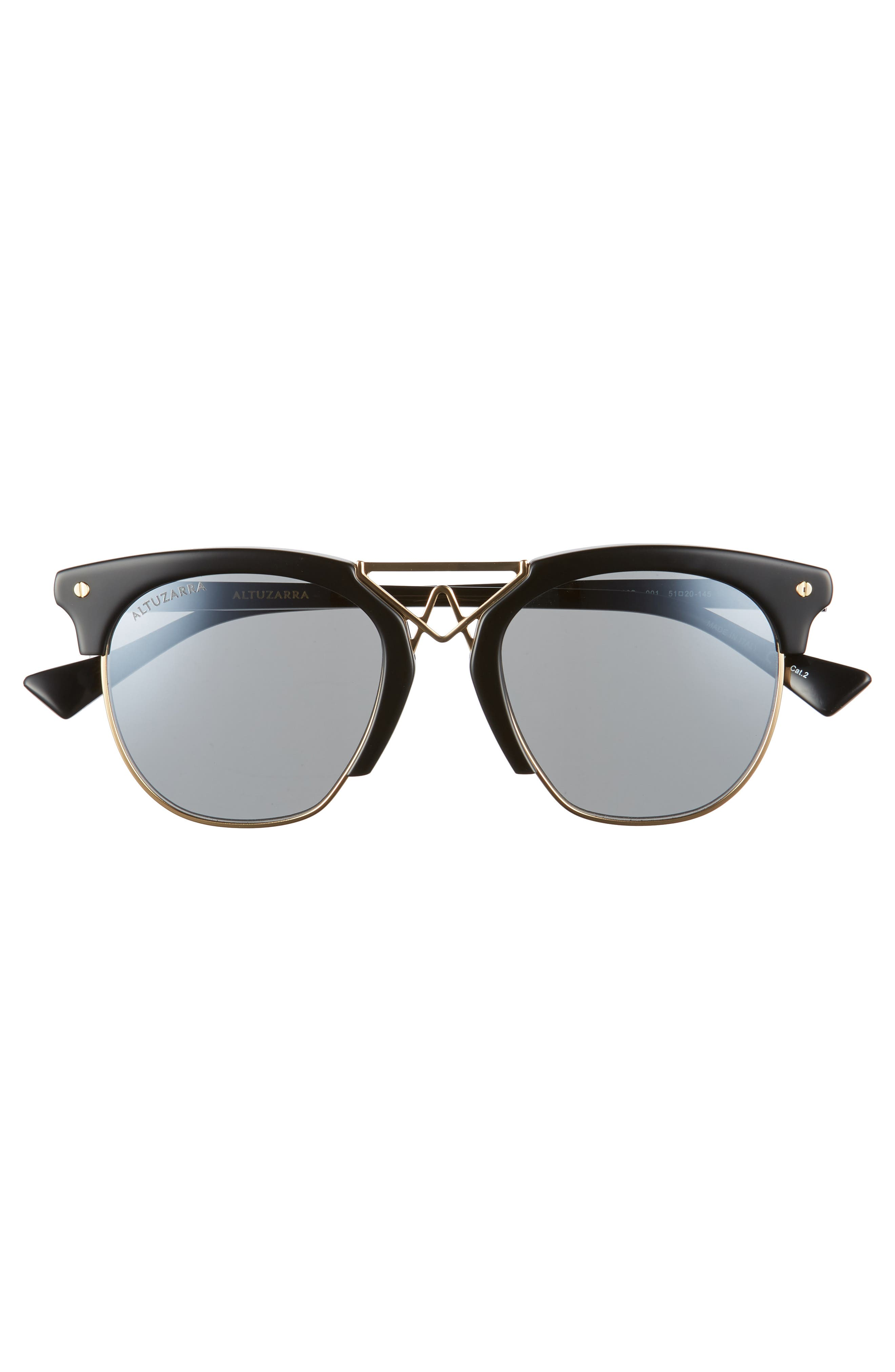 51mm Round Sunglasses,                             Alternate thumbnail 3, color,                             BLACK/ GOLD