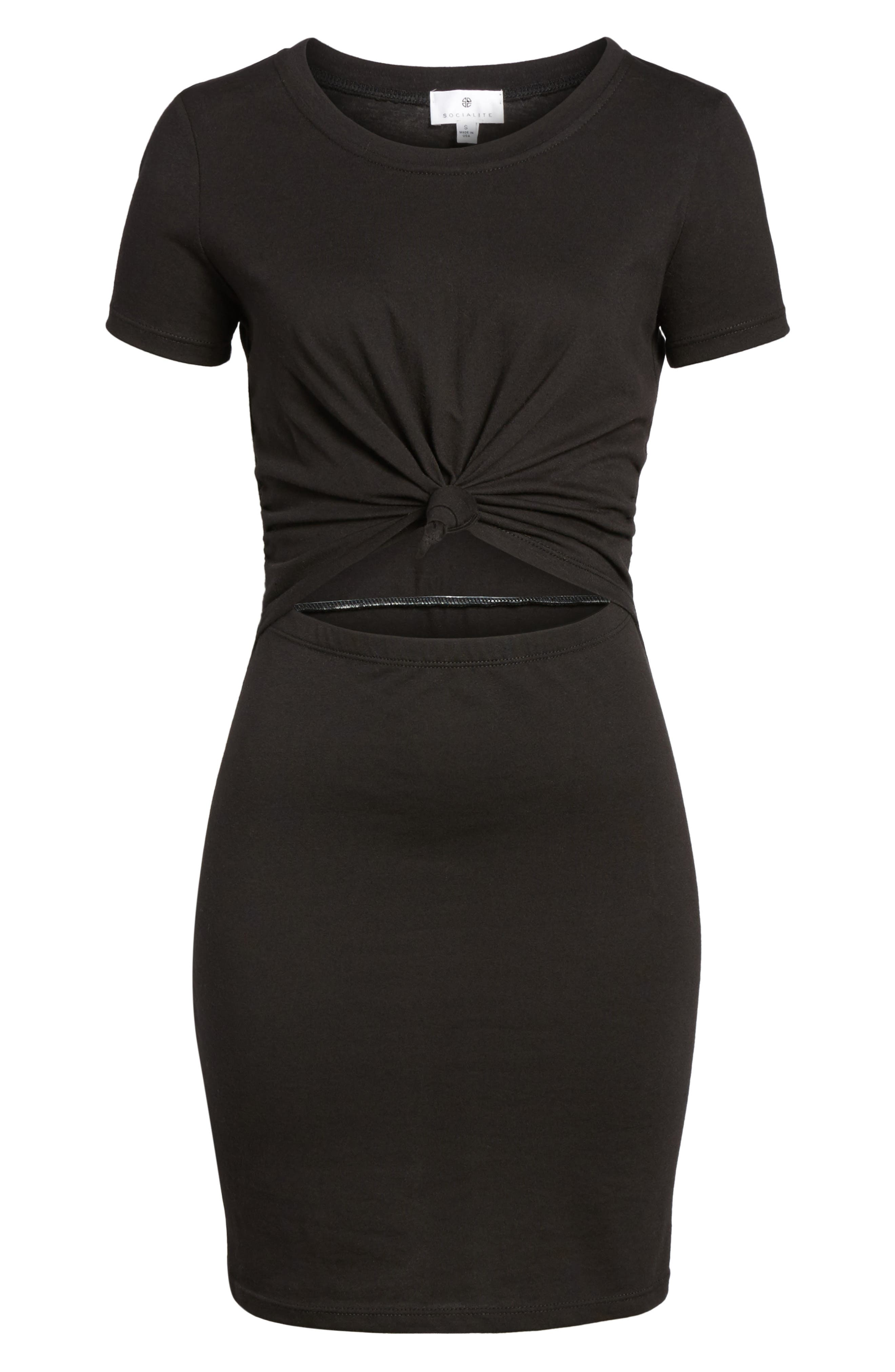 Knot Front Cutout T-Shirt Dress,                             Alternate thumbnail 6, color,                             BLACK