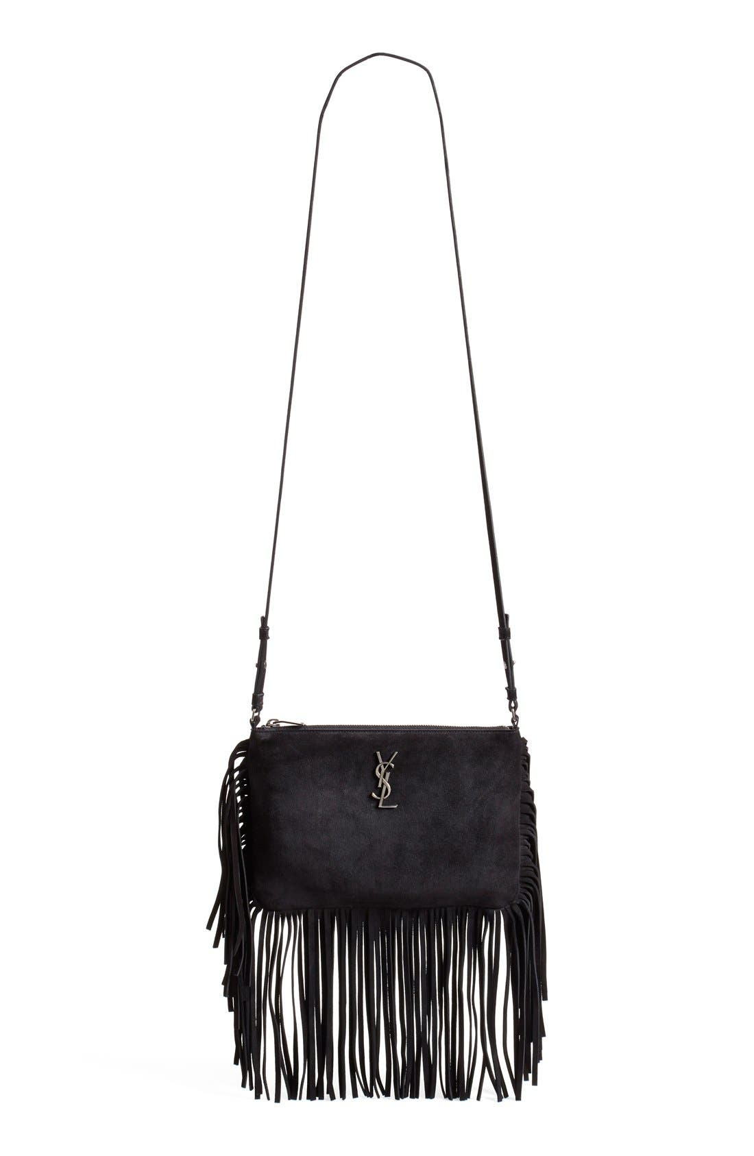 Fringe Suede Crossbody Bag,                         Main,                         color, 001