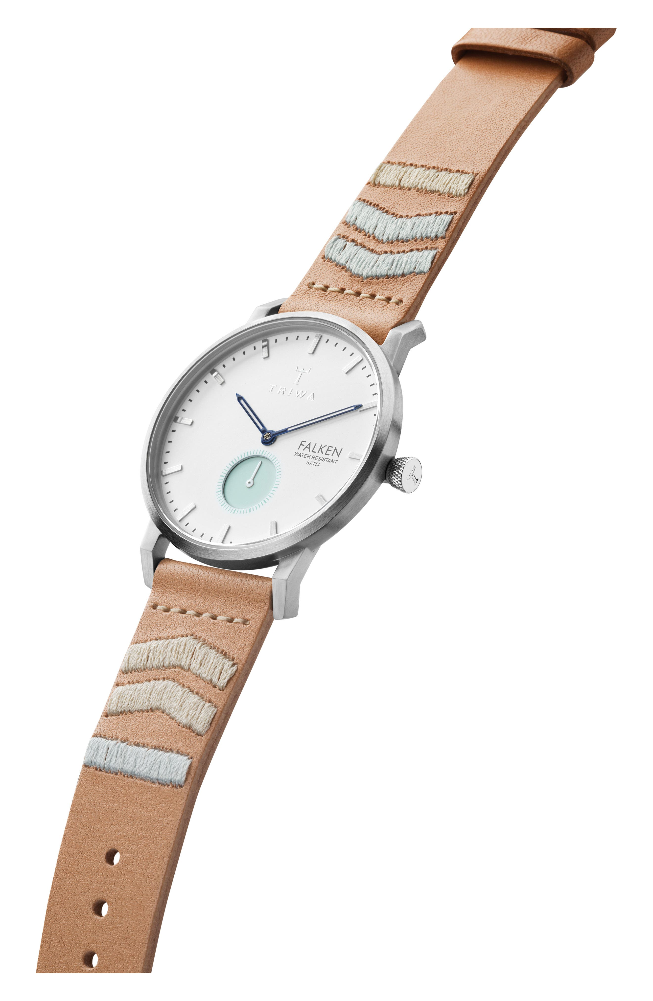 Wave Falken Embroidered Leather Strap Watch, 38mm,                             Alternate thumbnail 2, color,                             TAN EMBROIDERED/ WHITE/ SILVER