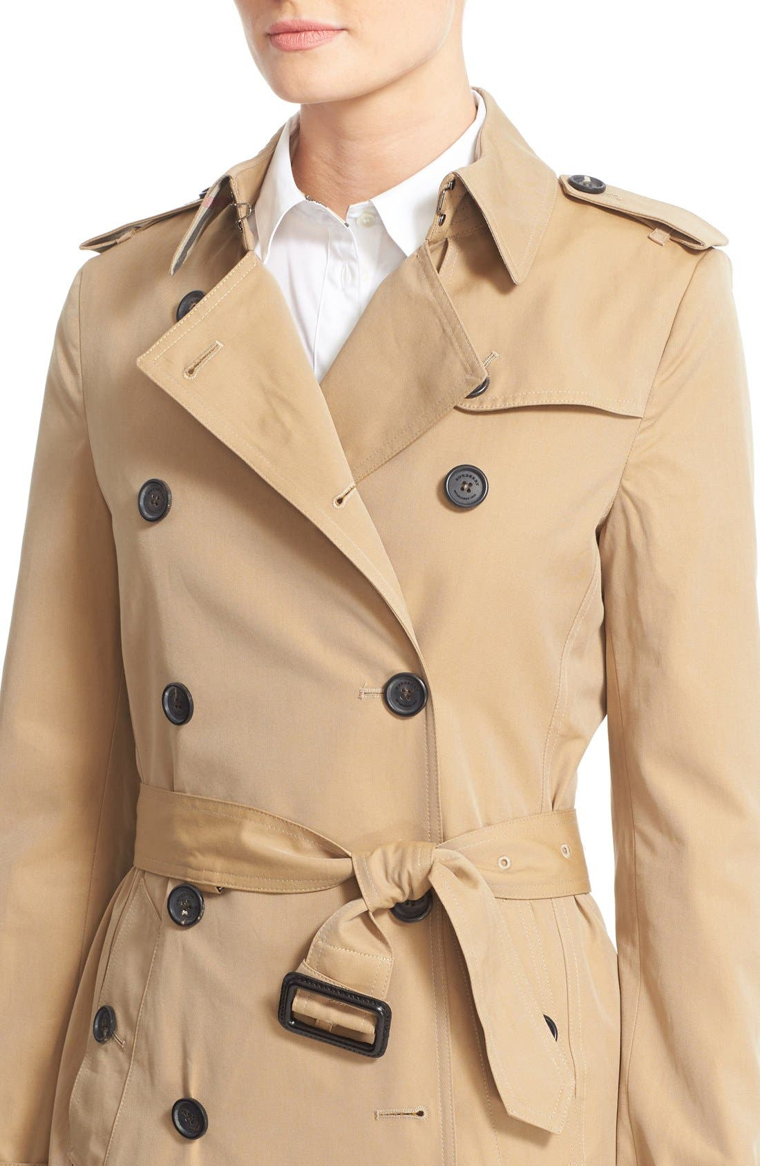 Kensington Short Trench Coat,                             Alternate thumbnail 12, color,                             HONEY