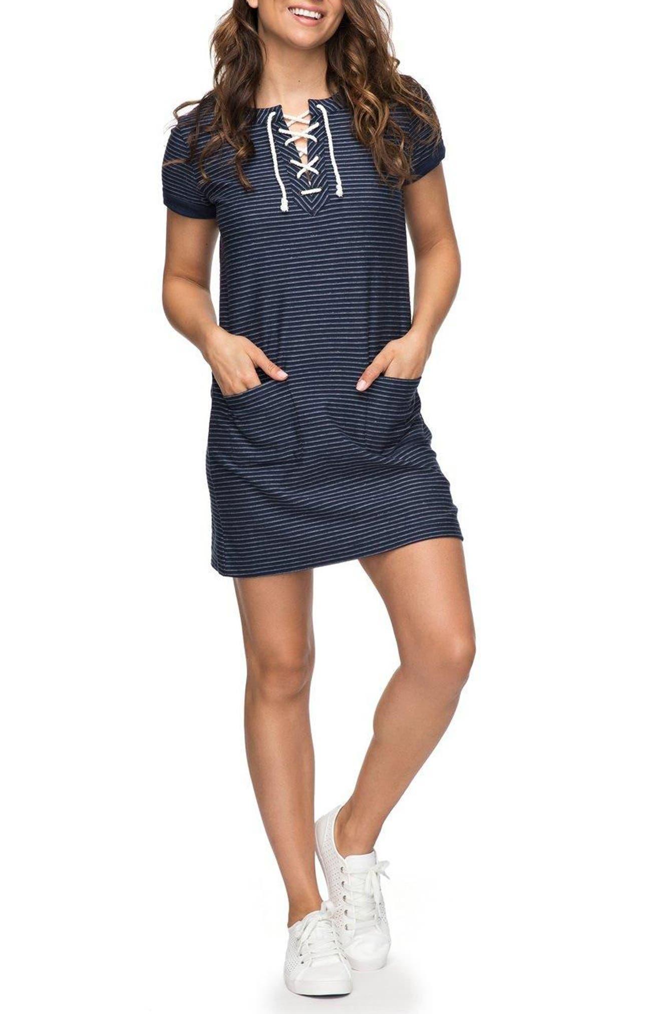 Beyond the Ocean Stripe Dress,                         Main,                         color, 401
