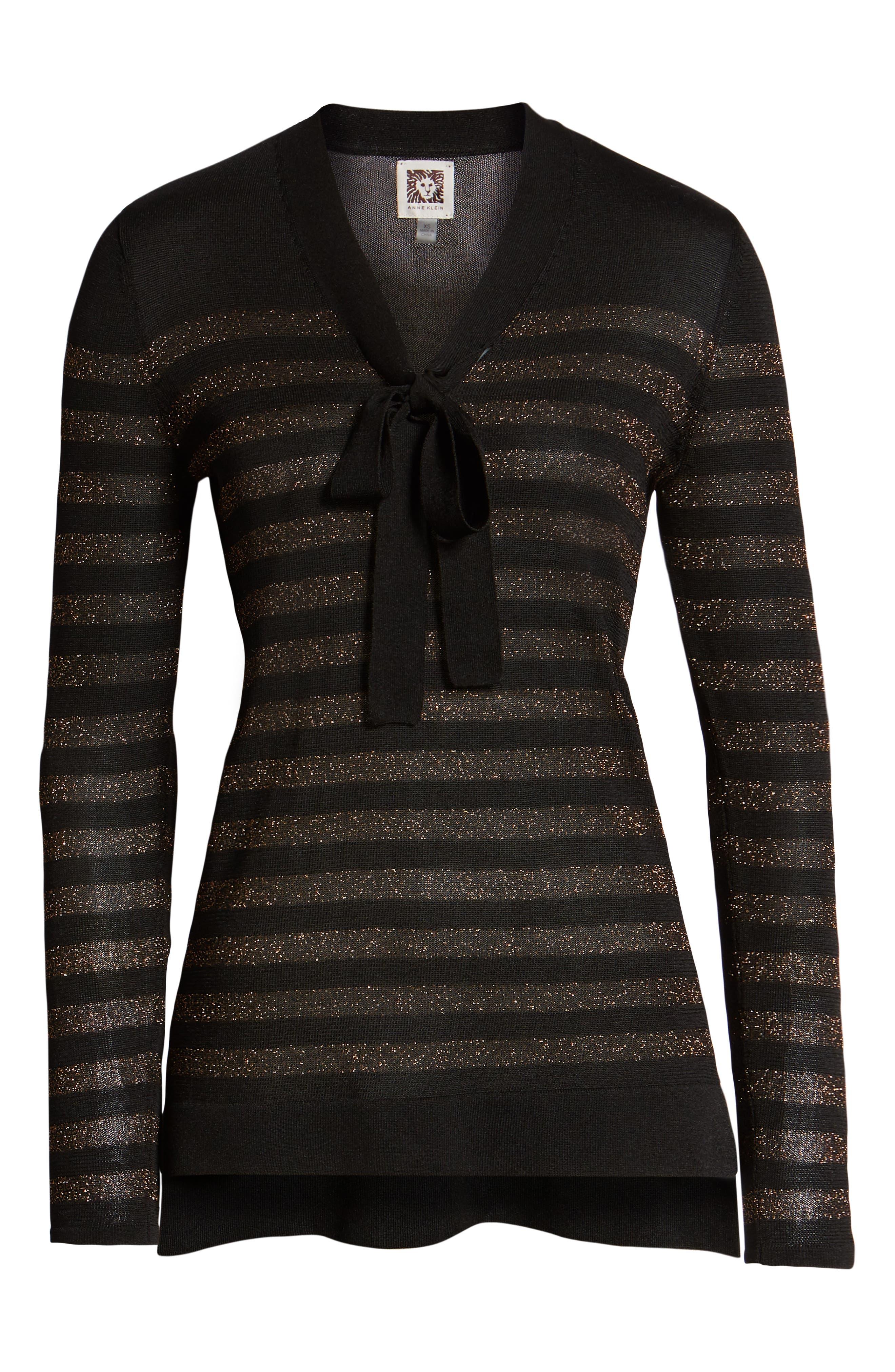 Metallic Stripe Bow Front Sweater,                             Alternate thumbnail 6, color,                             ANNE BLACK/ COPPER