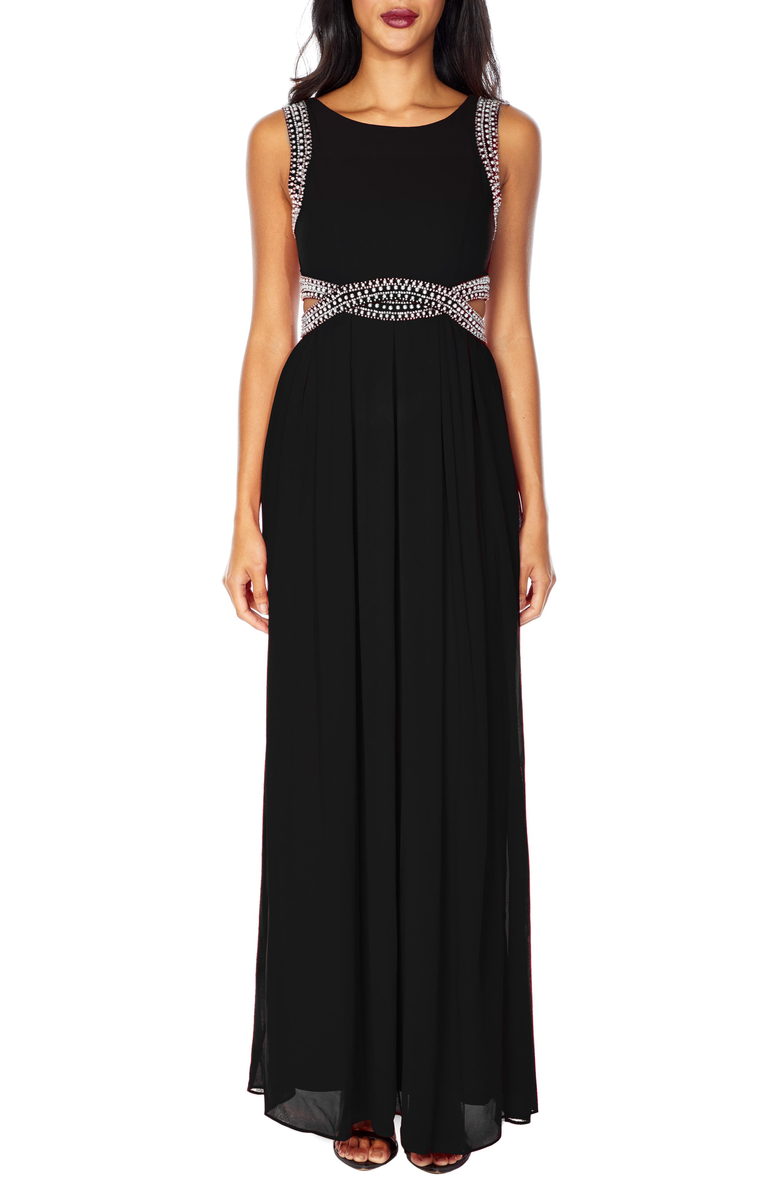 Malaga Sleeveless Gown,                         Main,                         color, BLACK