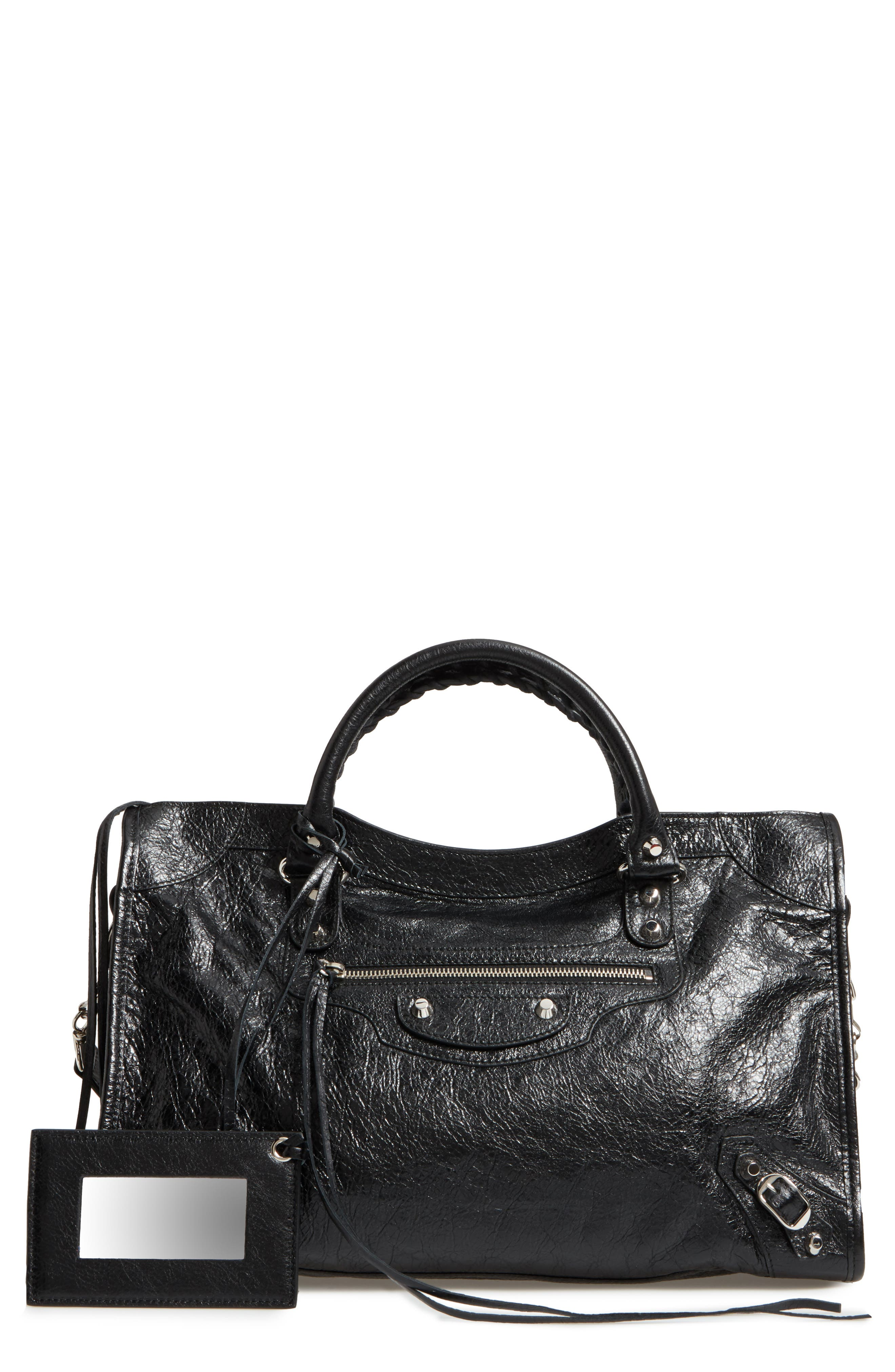 Classic City Leather Tote,                         Main,                         color, 001
