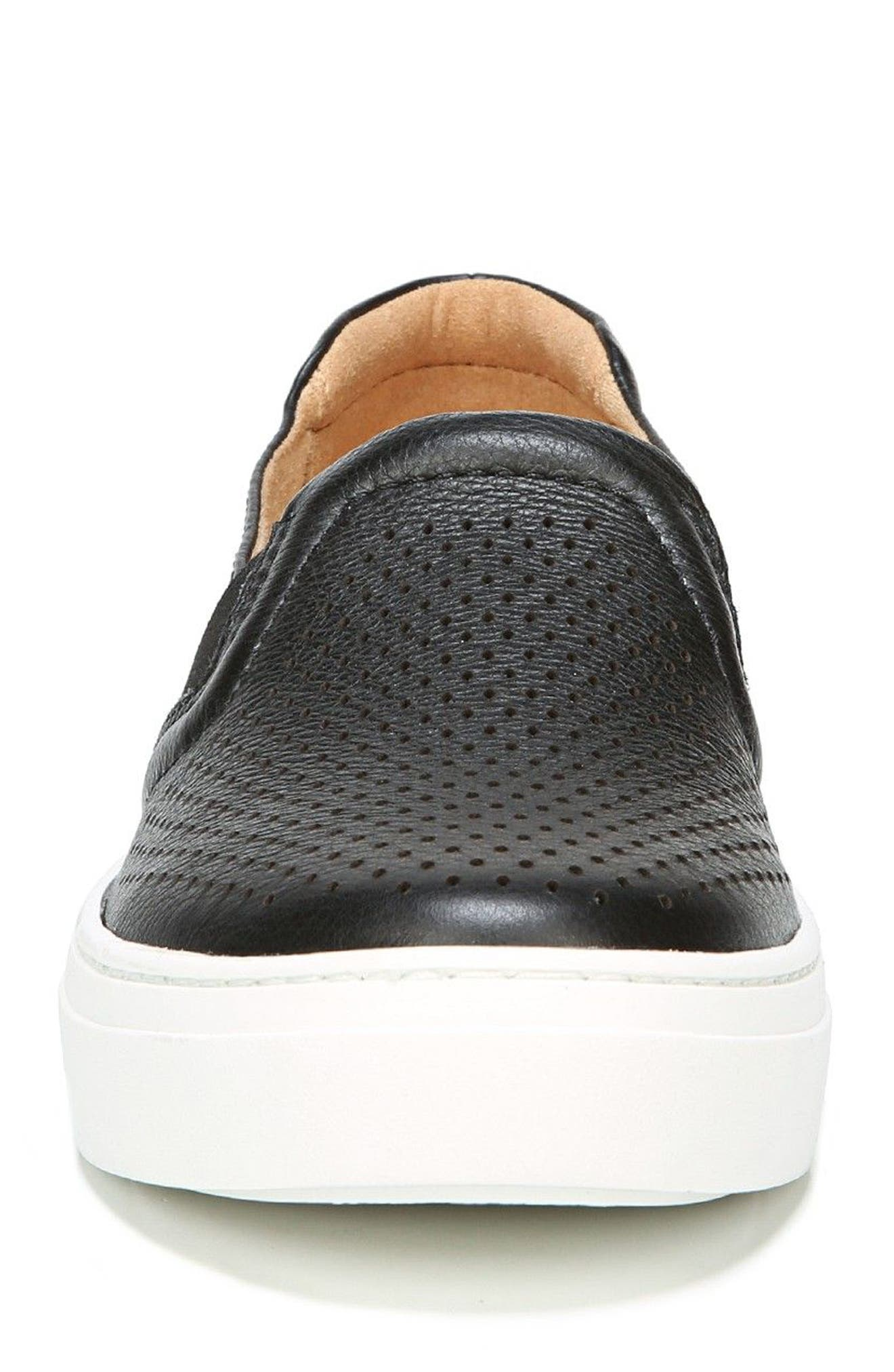 Carly Slip-On Sneaker,                             Alternate thumbnail 4, color,                             BLACK PEBBLED LEATHER