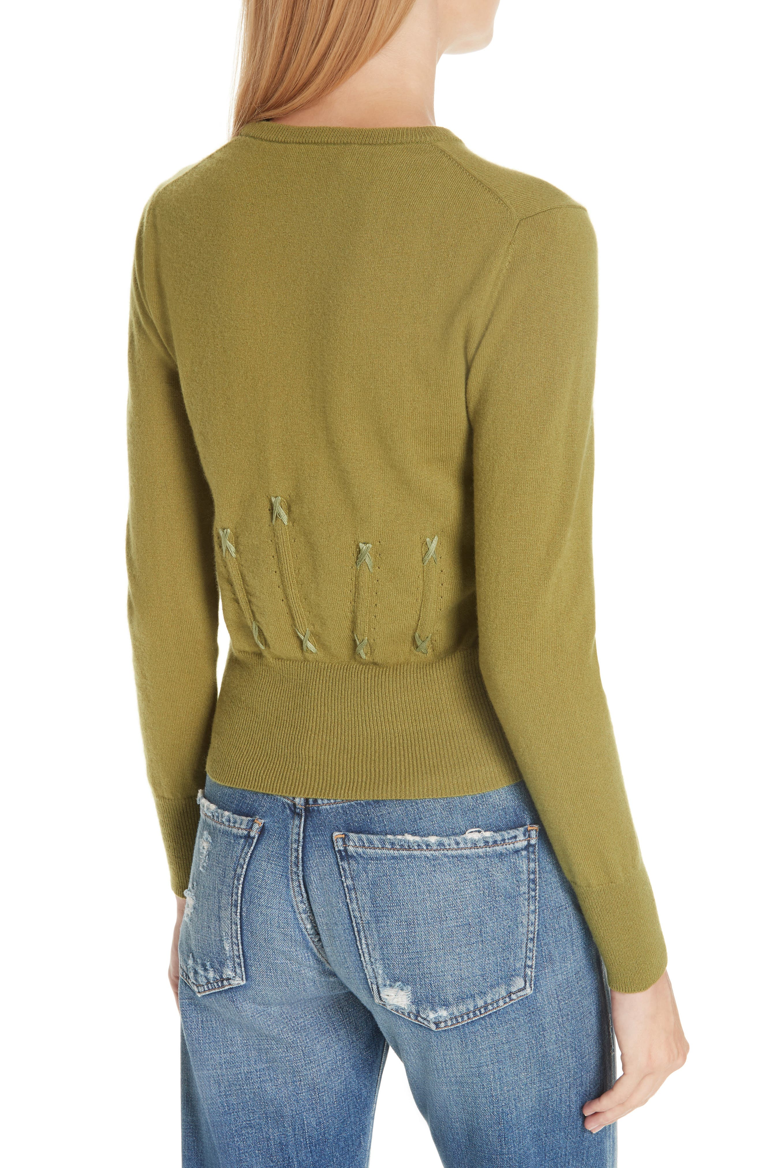 Cailyn Corset Knit Cashmere Sweater,                             Alternate thumbnail 2, color,                             GREEN