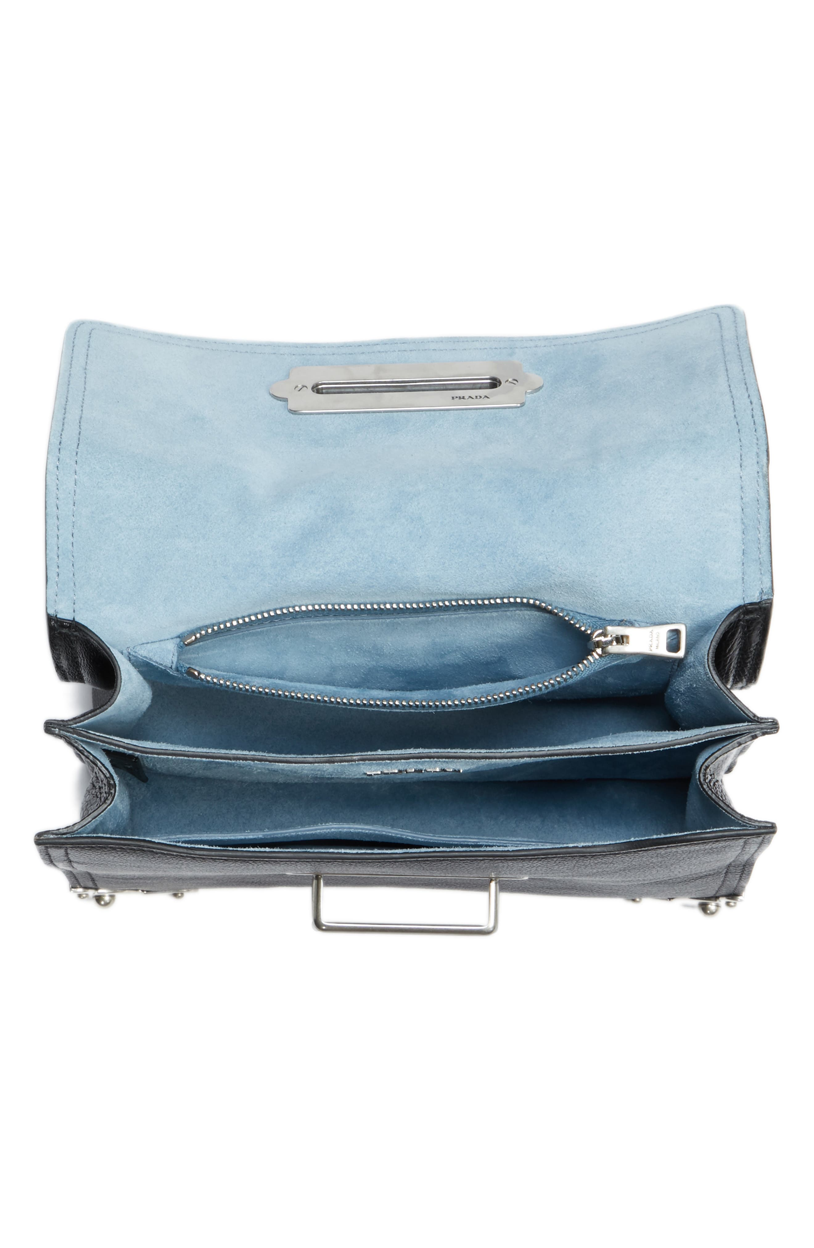 PRADA,                             Cahier Glace Calfskin Convertible Shoulder Bag,                             Alternate thumbnail 4, color,                             001
