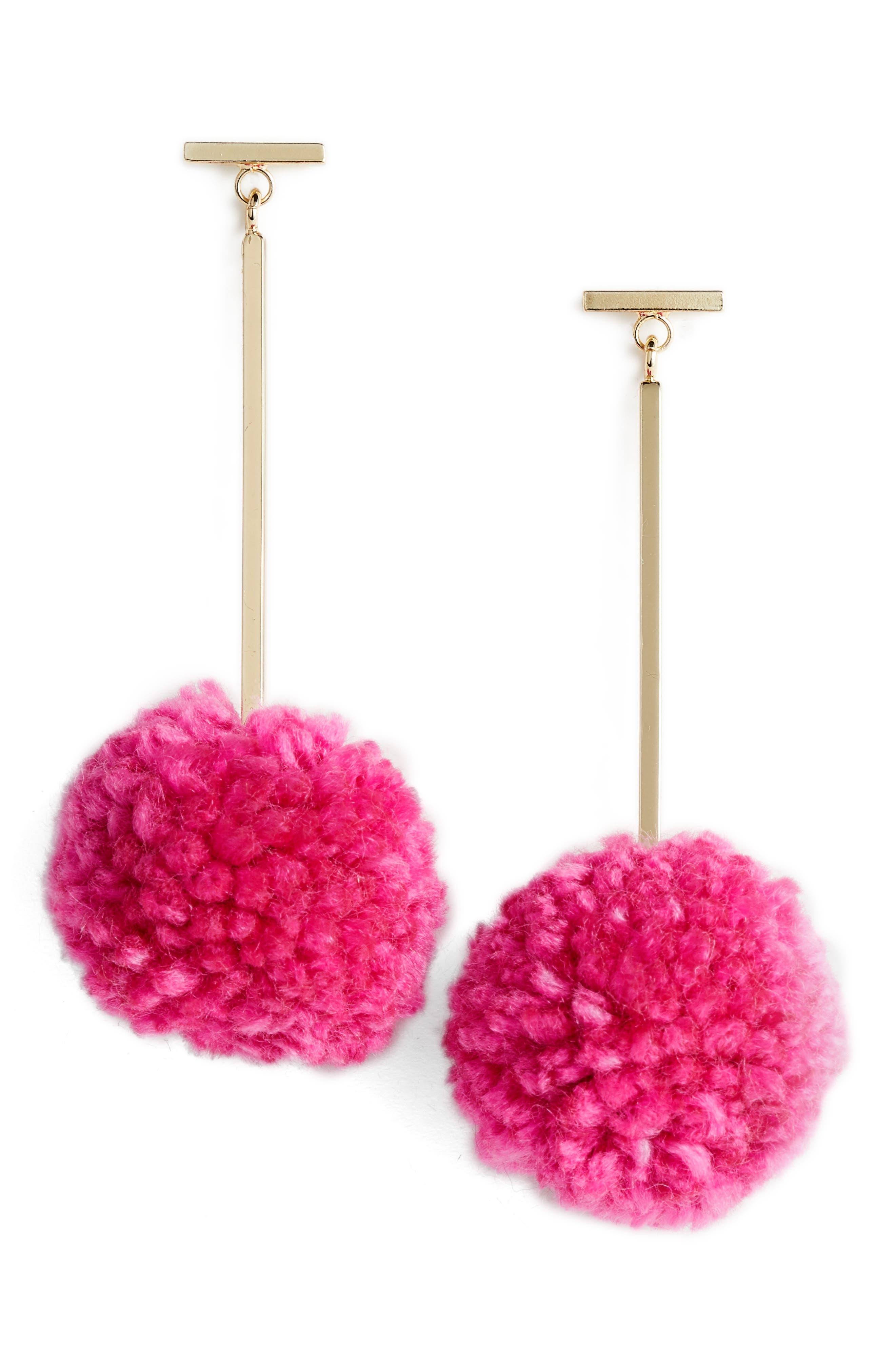 Pompom Drop Earrings,                         Main,                         color,