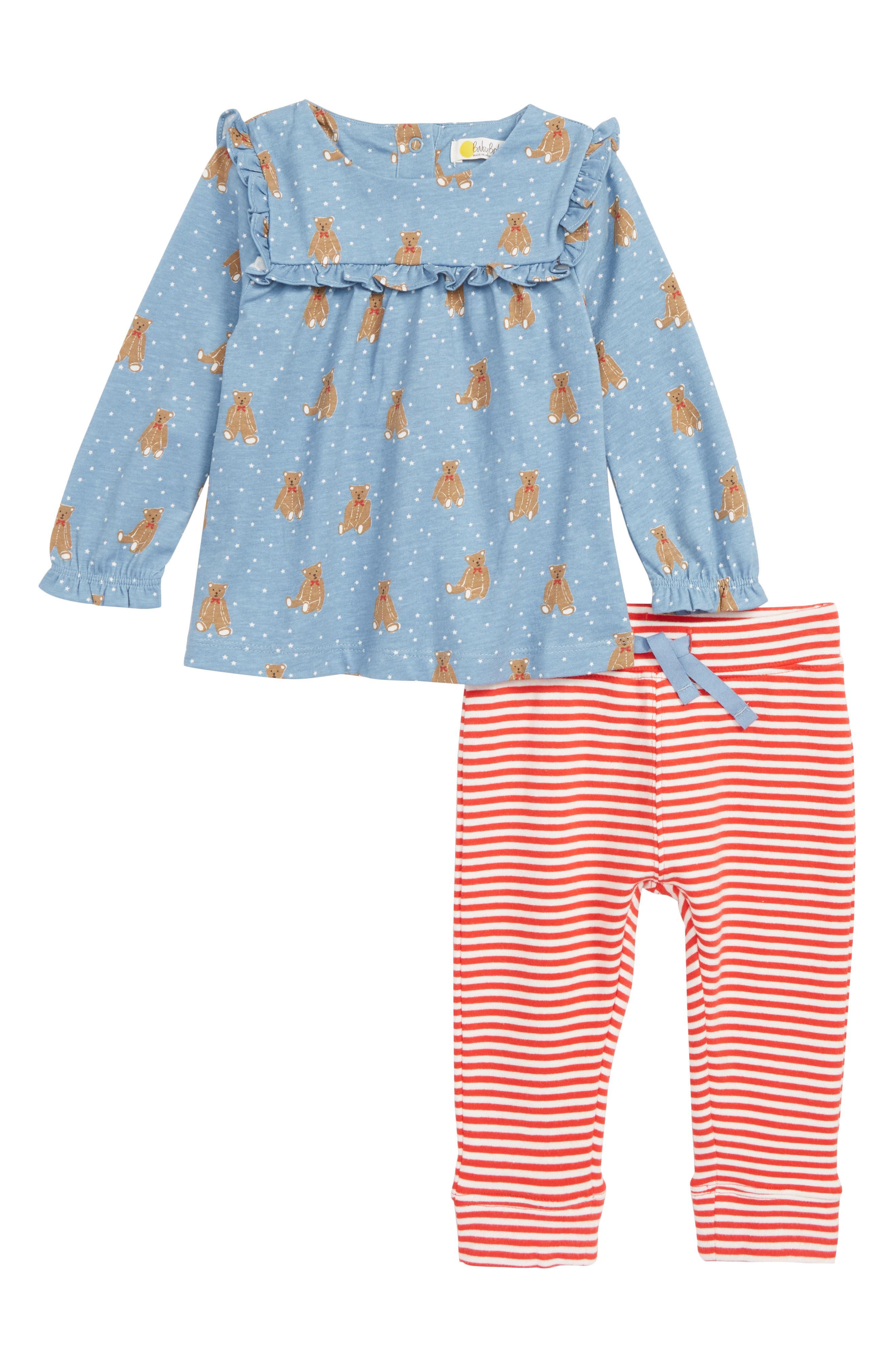 MINI BODEN Boathouse Blue Baby Bars Tunic & Leggings Set, Main, color, 400