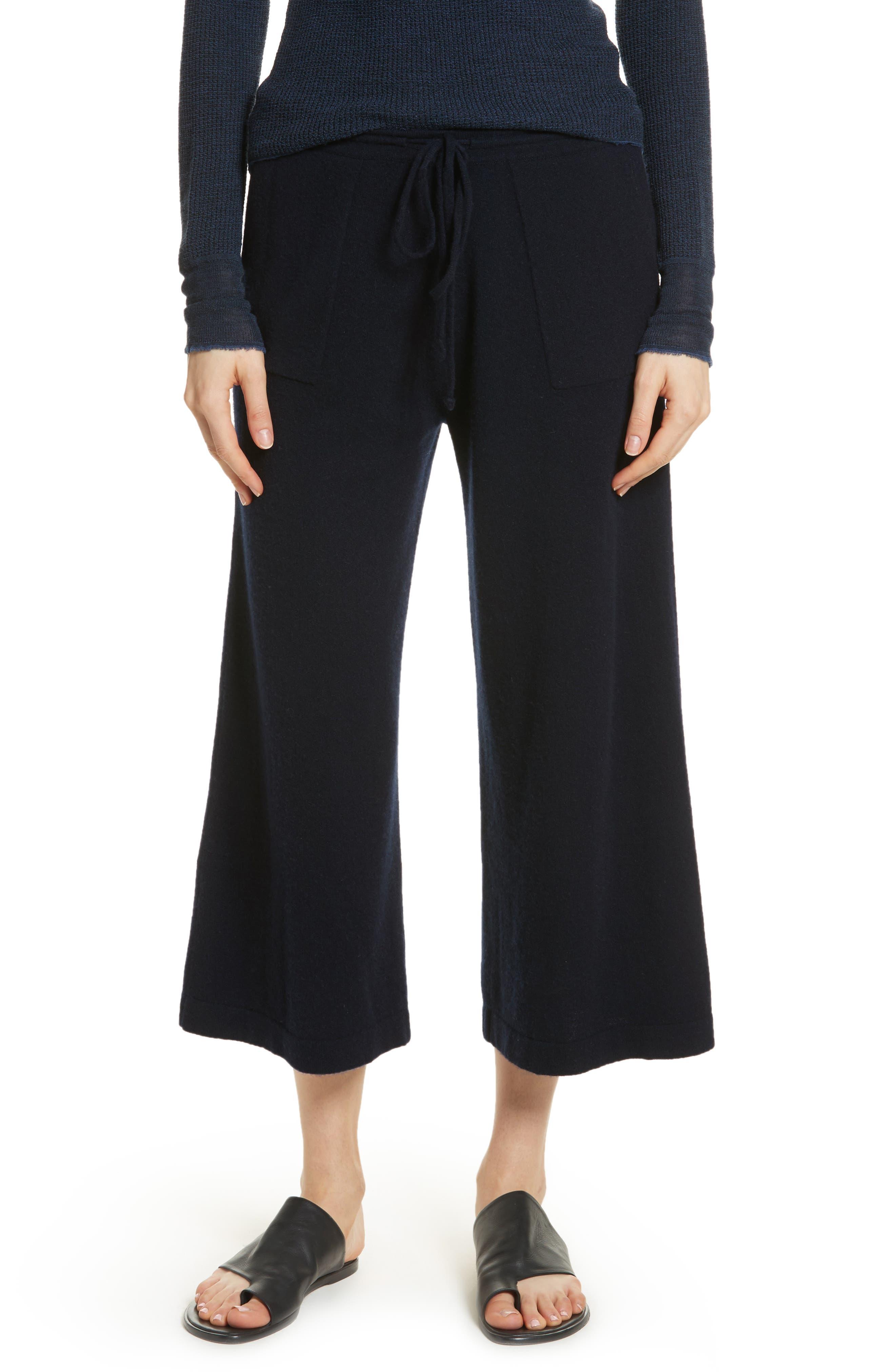 Wide Leg Wool & Cashmere Knit Crop Pants,                         Main,                         color, 403