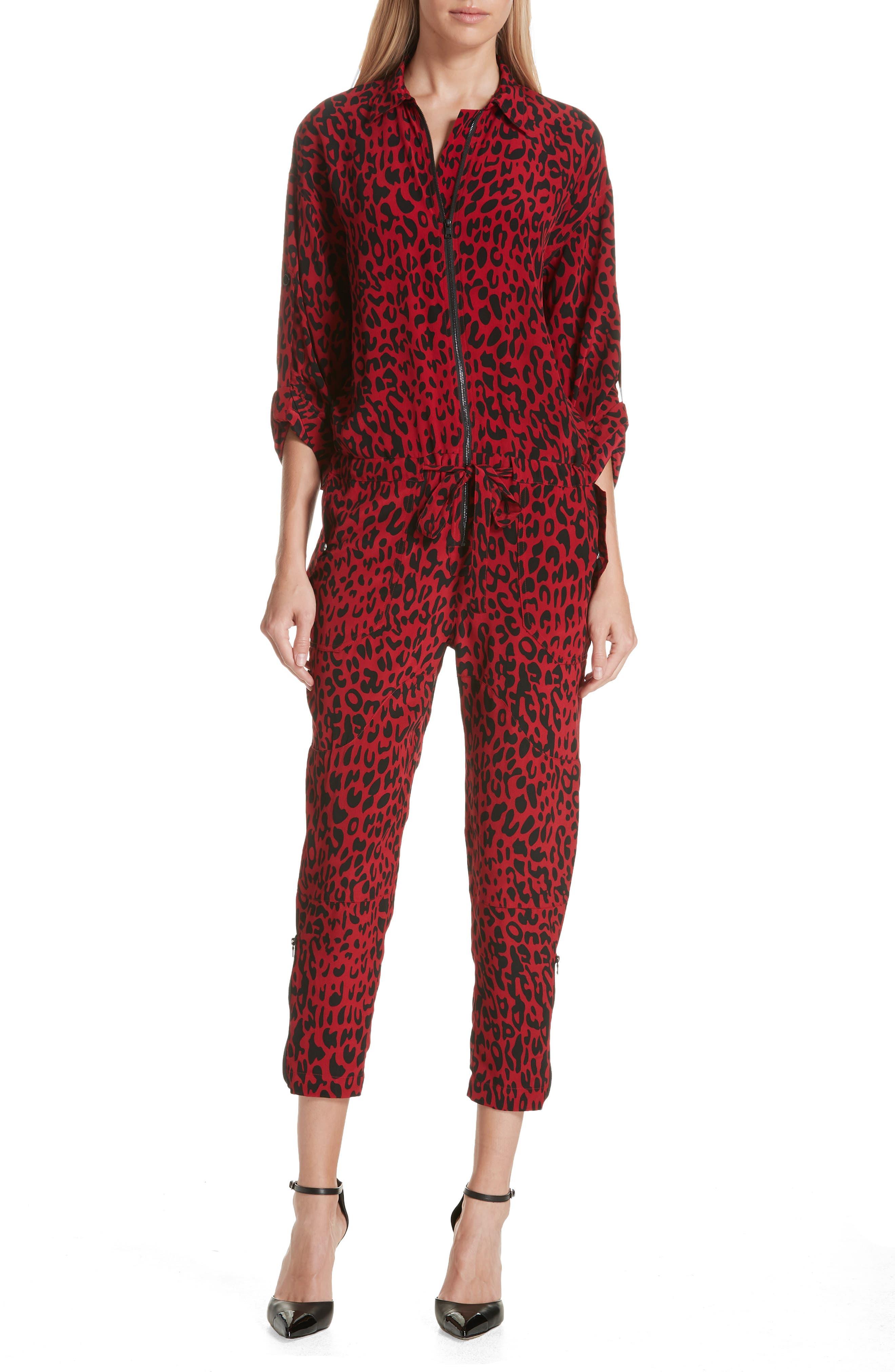 Leopard Print Crop Jumpsuit,                         Main,                         color, 600