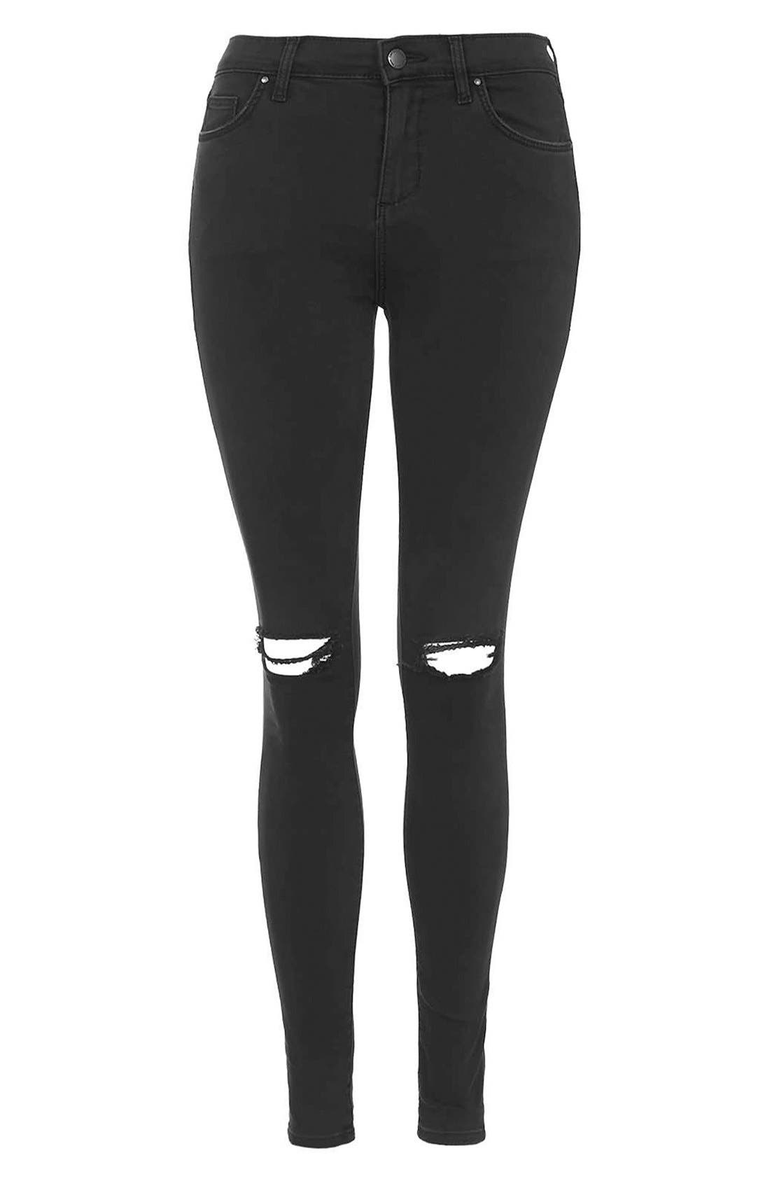 Moto 'Leigh' Ripped Skinny Jeans,                             Alternate thumbnail 6, color,                             001