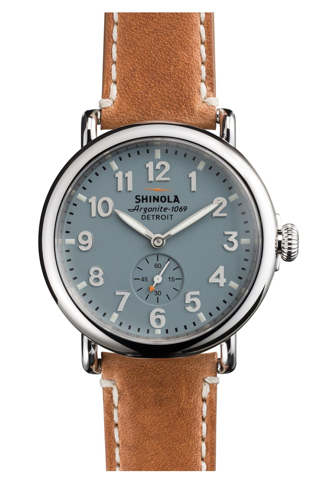 'The Runwell' Leather Strap Watch, 41mm,                         Main,                         color, BROWN/ PALE GREY