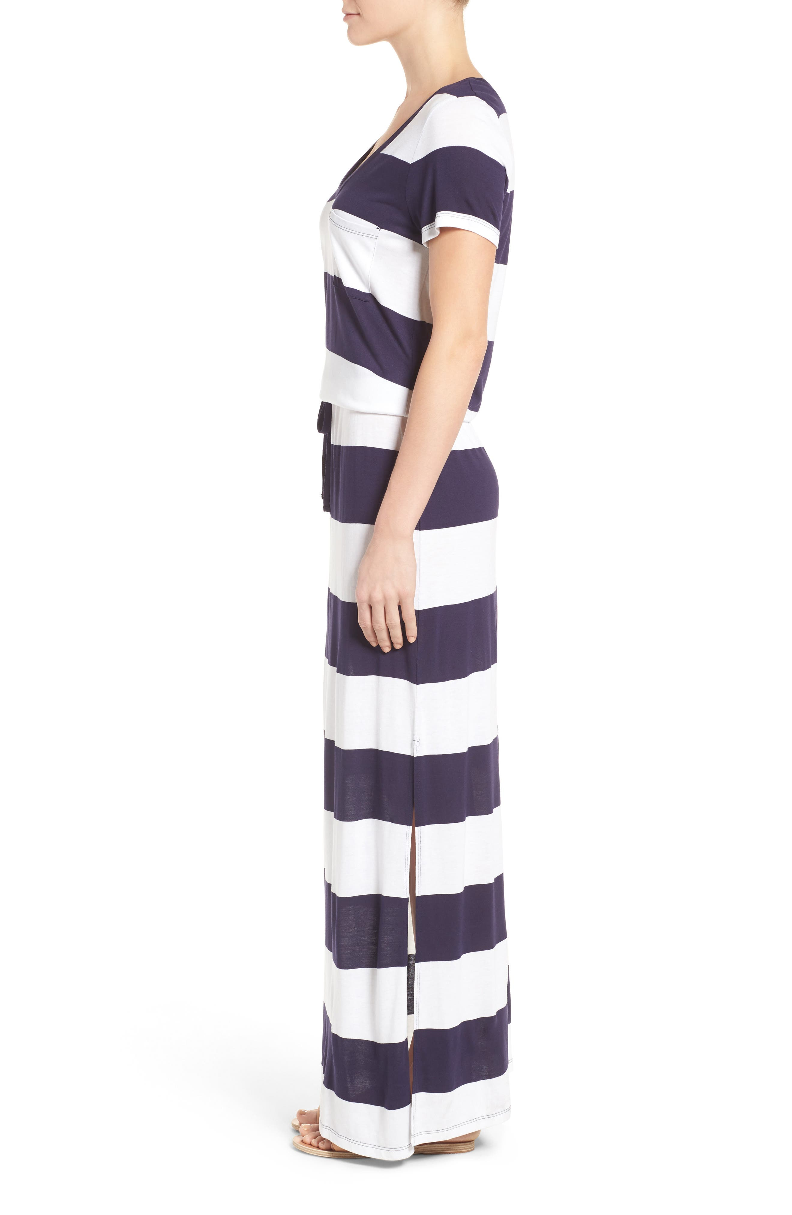 Drawstring V-Neck Jersey Maxi Dress,                             Alternate thumbnail 29, color,