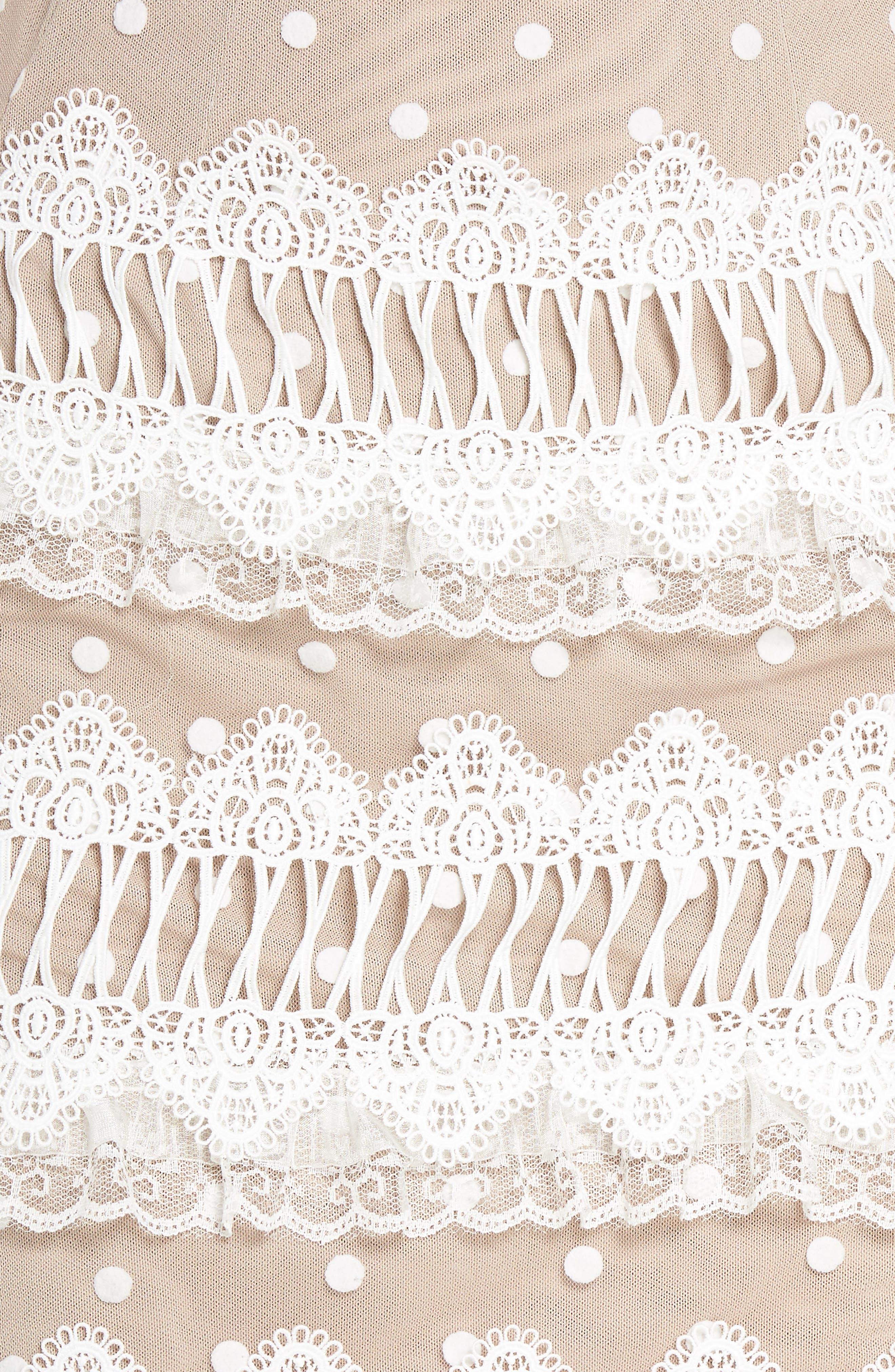 Majiorca Dot Lace Cocktail Dress,                             Alternate thumbnail 5, color,                             WHITE
