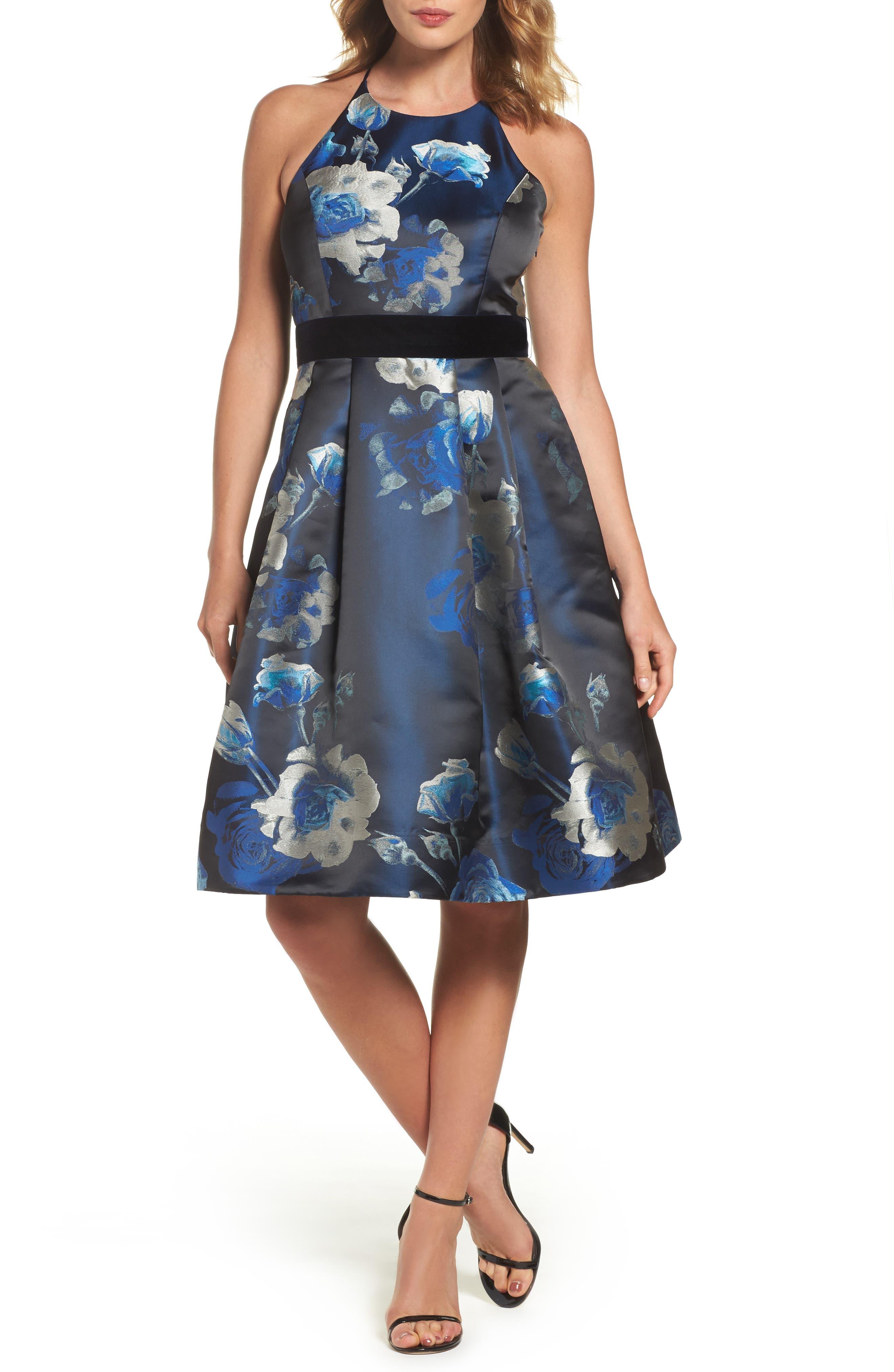 Jacquard Fit & Flare Dress,                             Main thumbnail 1, color,                             004