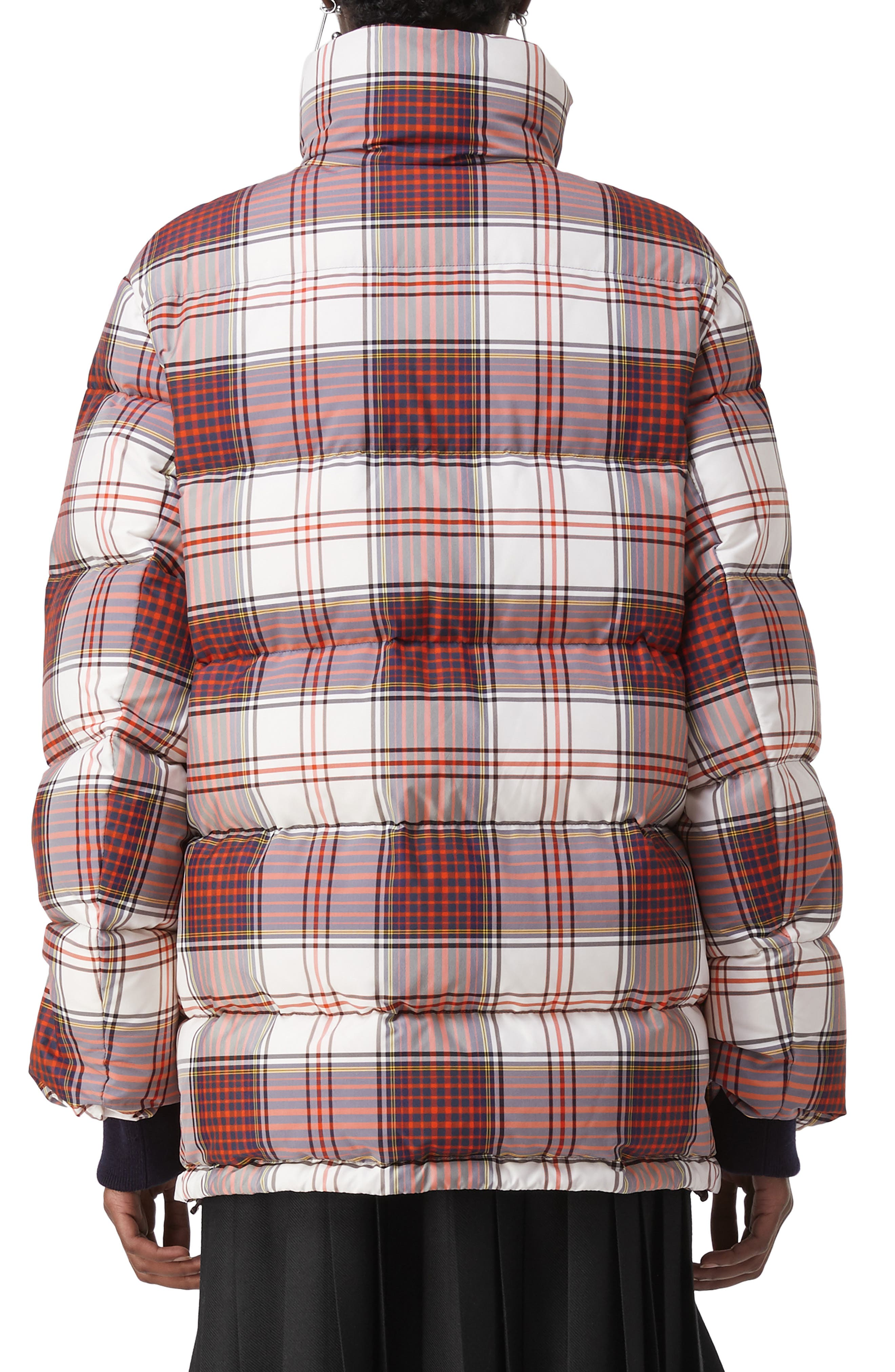 Selsey Check Print Down Coat,                             Alternate thumbnail 2, color,                             OFF WHITE CHK