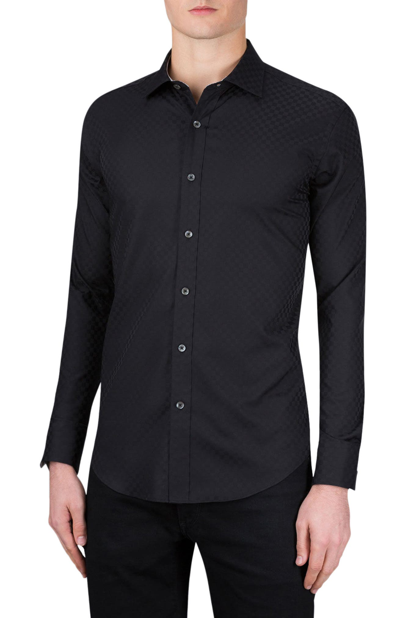Classic Fit Checkerboard Sport Shirt,                             Main thumbnail 1, color,                             001