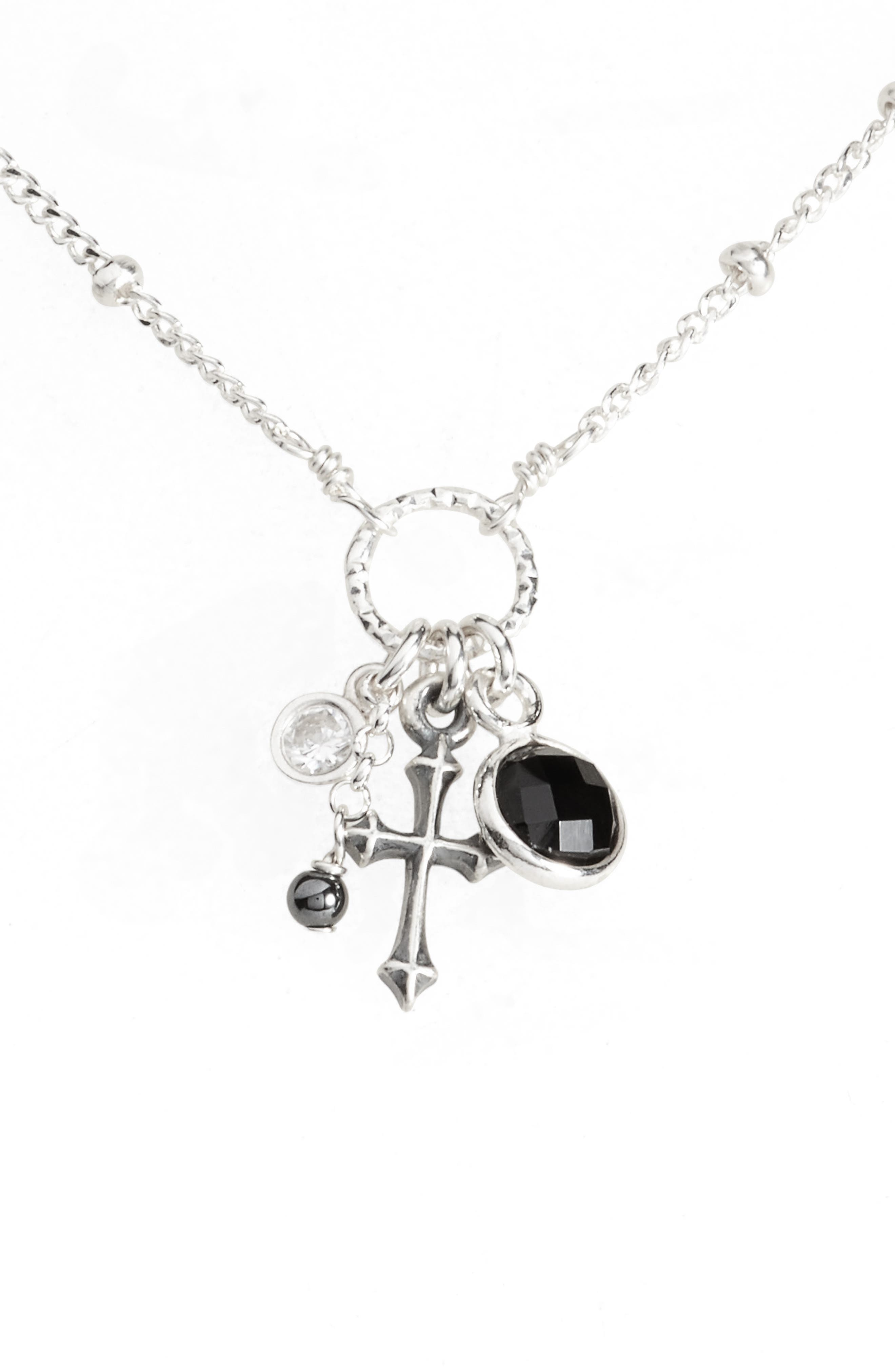 Loved, Devoted, Blessed Cross Charm Pendant Necklace,                             Alternate thumbnail 3, color,                             040