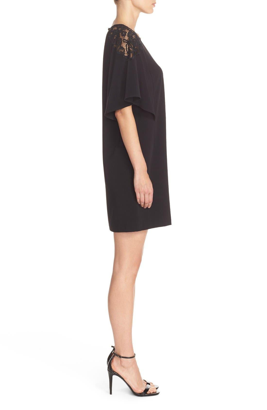 Lace Shoulder Crepe A-Line Dress,                             Alternate thumbnail 6, color,                             005