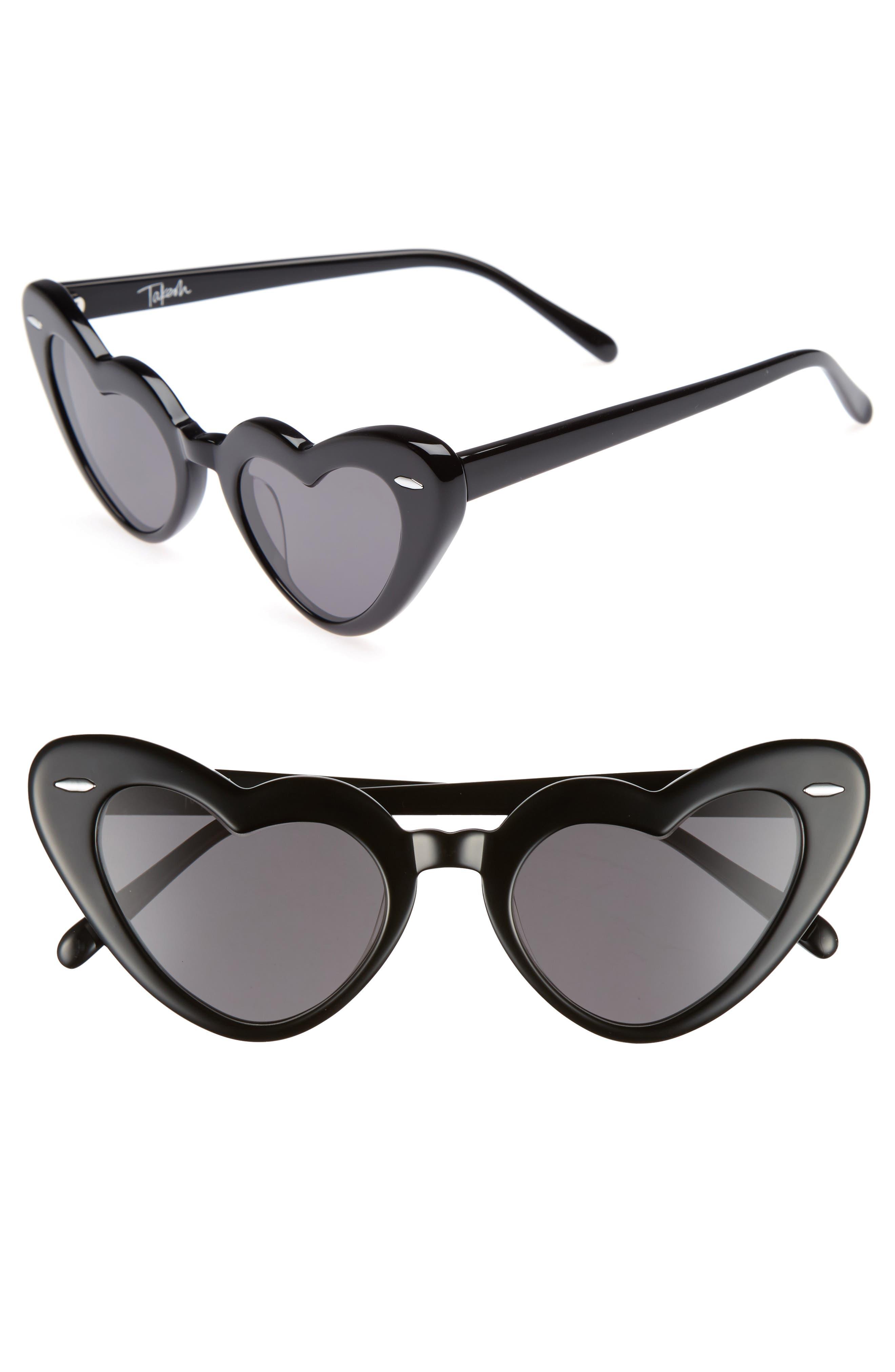 J'adore 46mm Heart Sunglasses,                             Main thumbnail 1, color,                             001